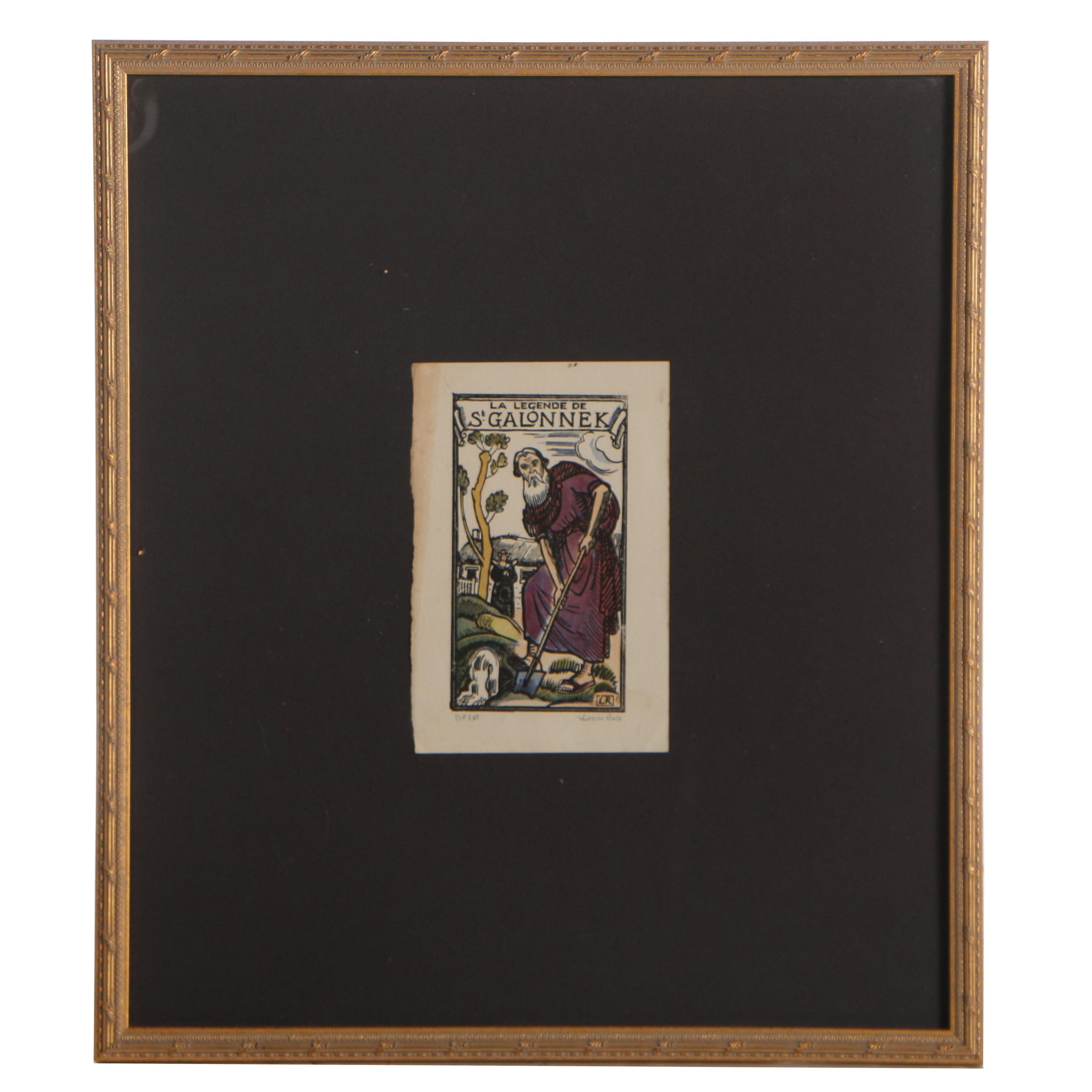 "Relief Print Designed by Ludovic-Rodo Pissarro ""La Legende de St. Galonnek"""