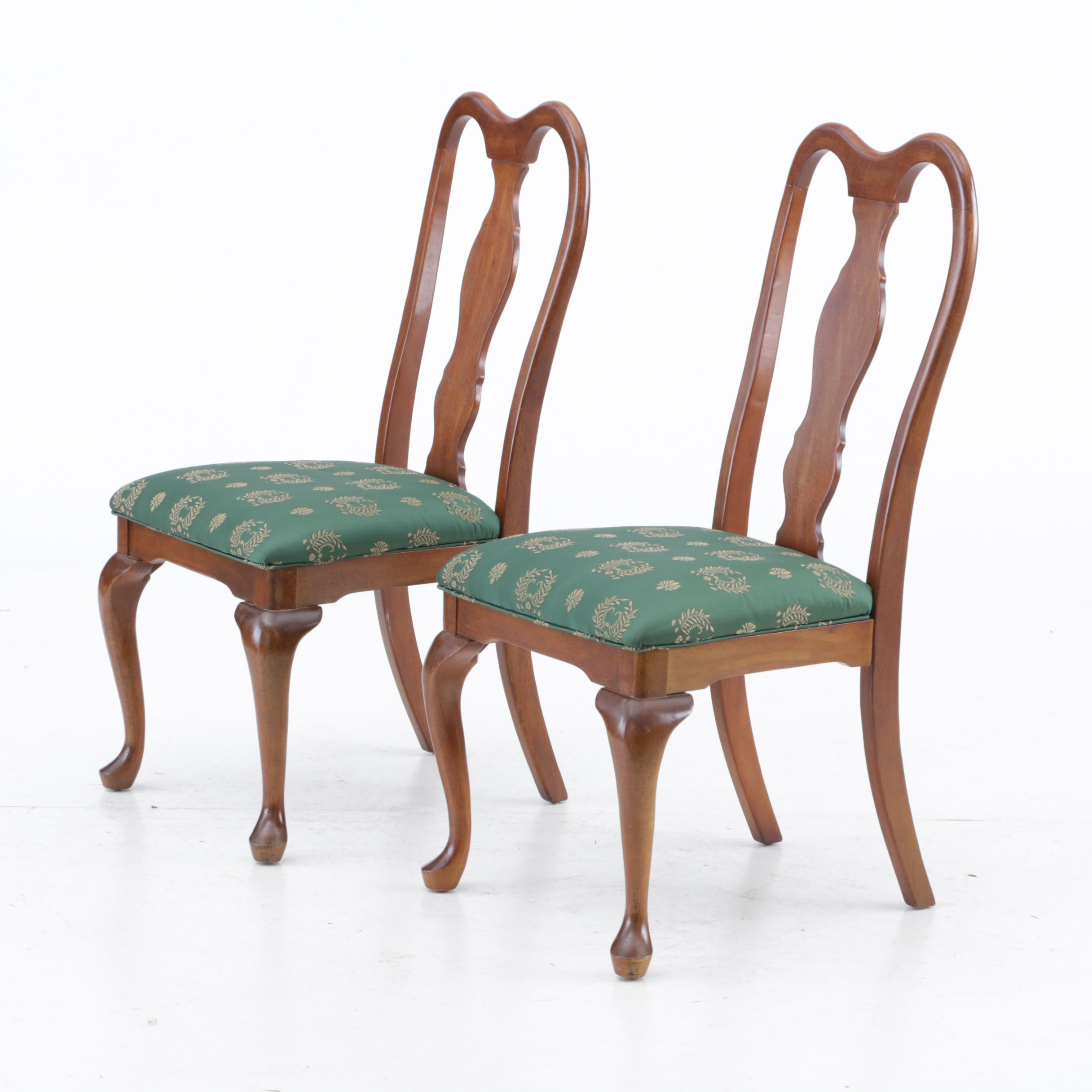 Pair of Wood Queen Anne Style Side Chairs, Late 20th Century