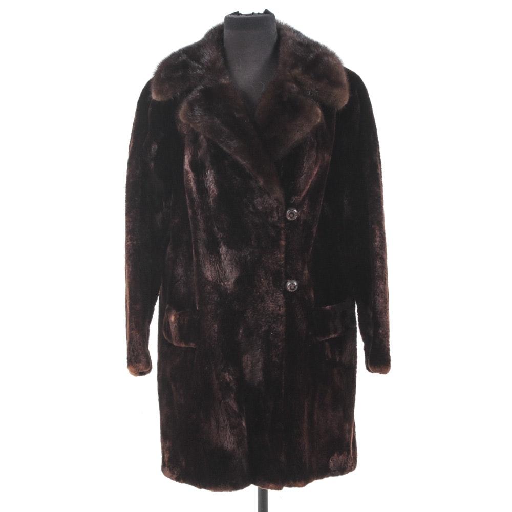 Sheared Beaver Fur Coat with Mink Fur Collar