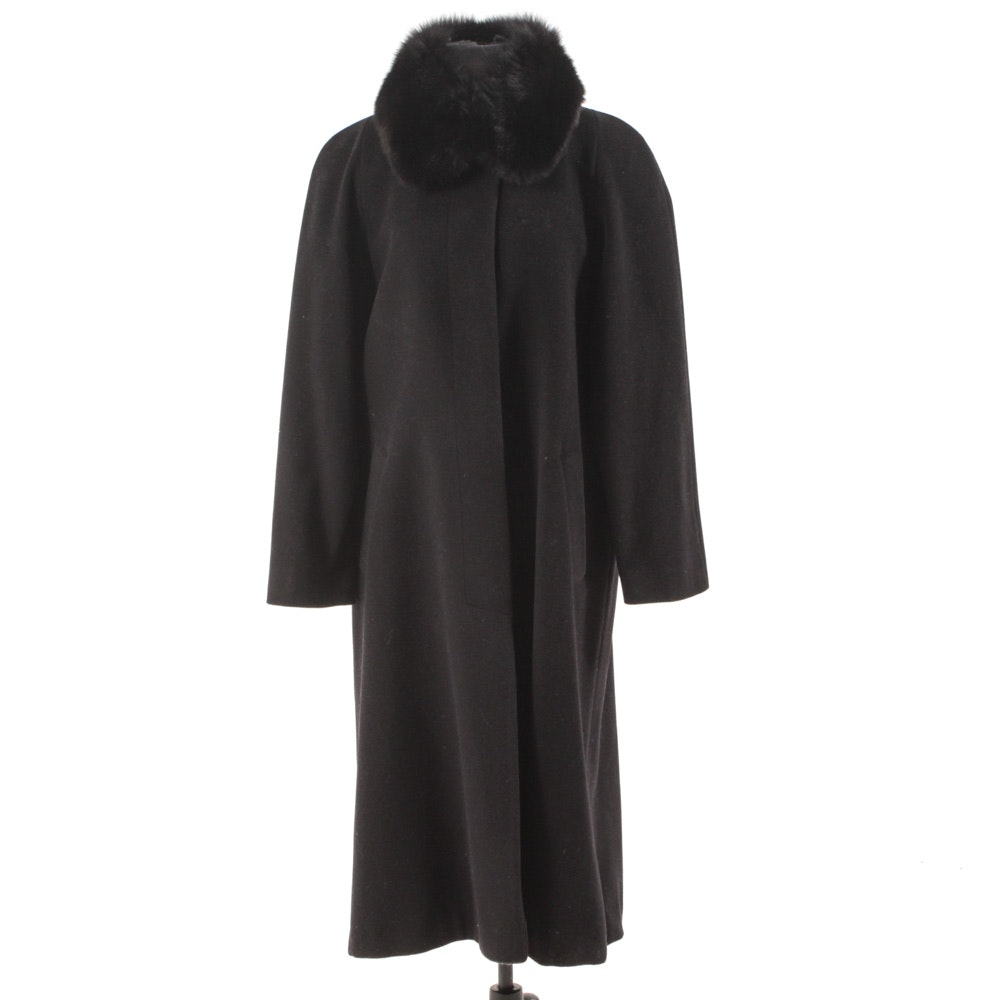 Women's Black Wool Coat with Fox Fur Collar