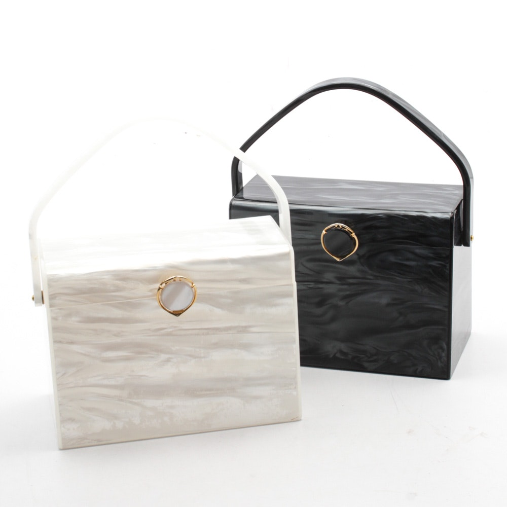 Vintage Marbled Black and White Lucite Handbags