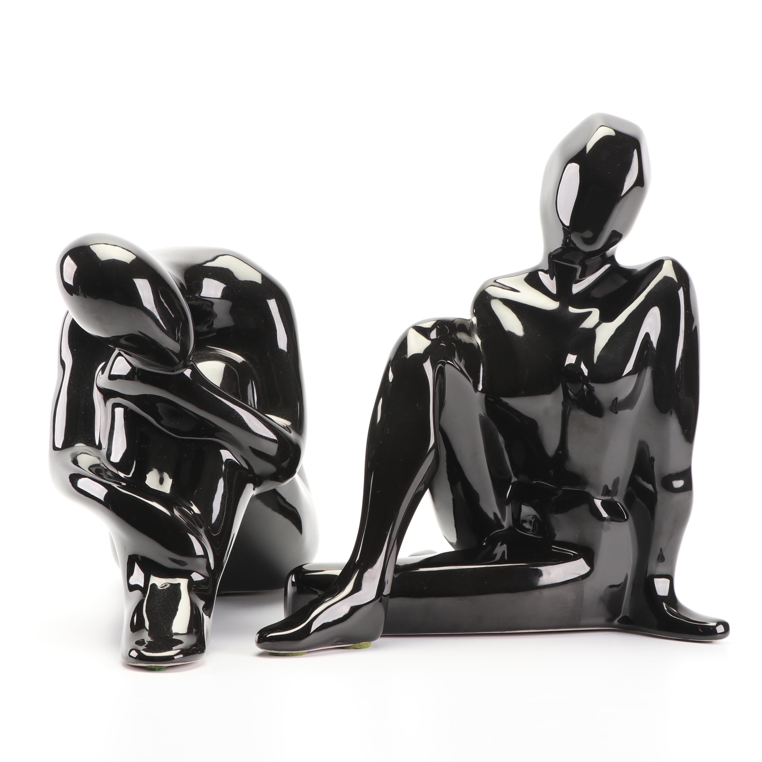 Mid-Century Jaru Black Glazed Female Nude Figures