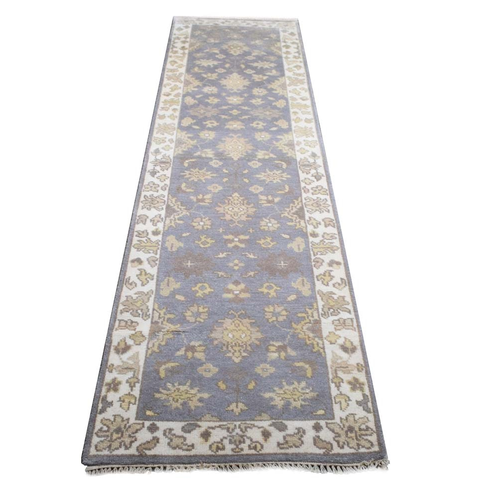 Hand Knotted Indo-Oushak Chobi Wool Hall Runner