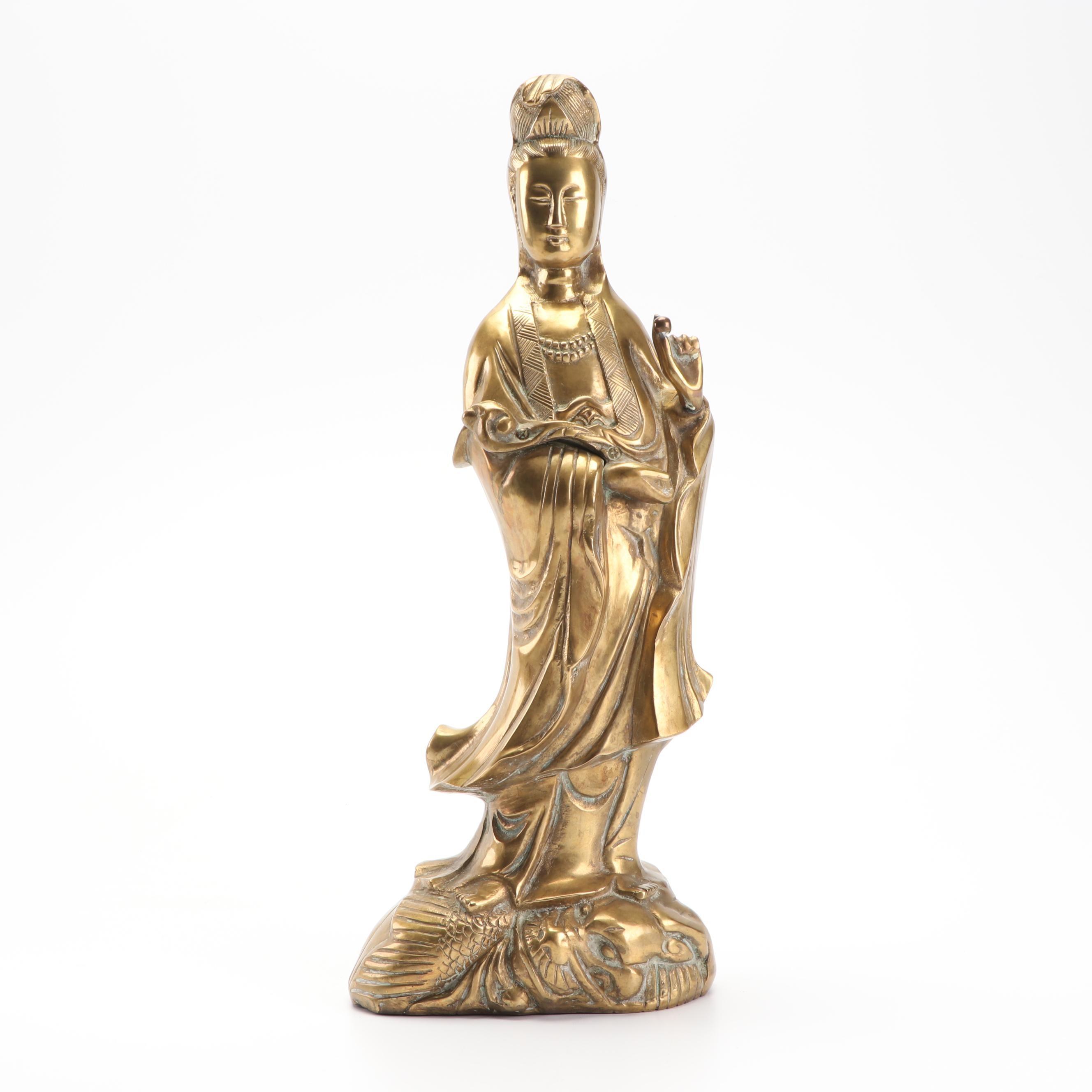 Chinese Guanyin Brass Statue