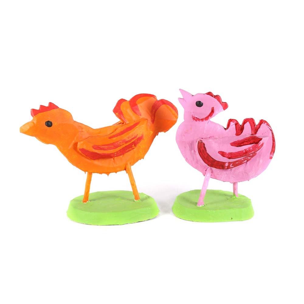 Collection of Folk Art Papier-Mâché Chickens - Elkland Art Center