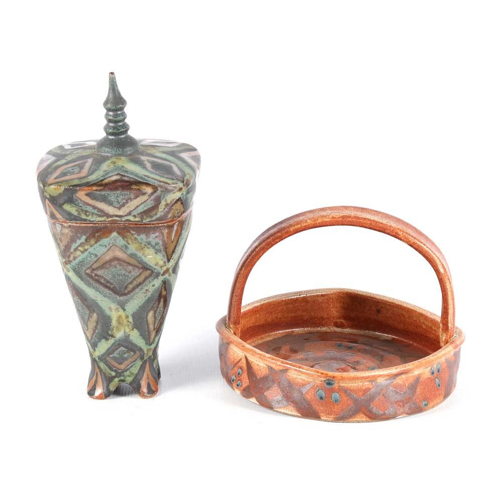 Peter Karner Wheel Thrown Stoneware Basket with Covered Jar