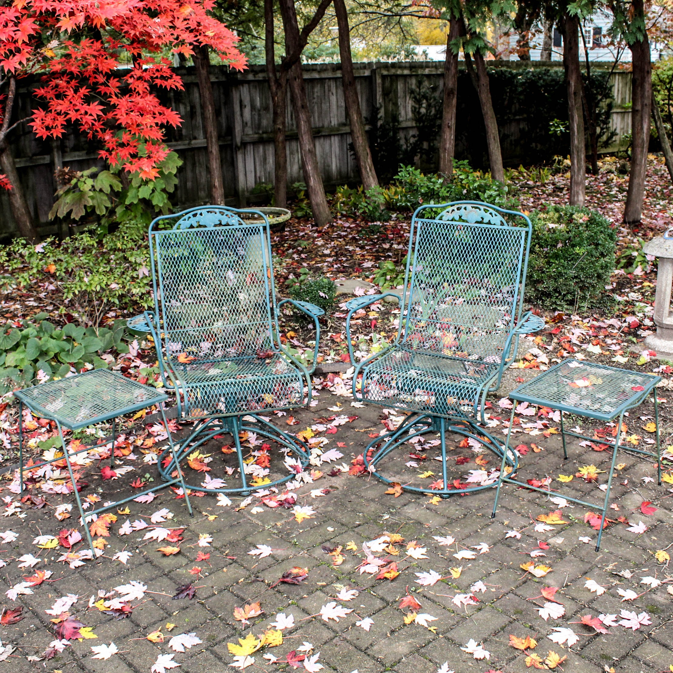 Green Metal Patio Chairs and Tables