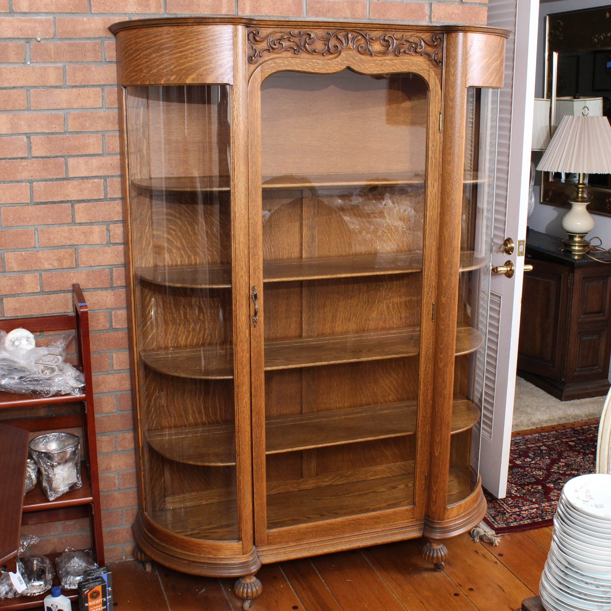 Vintage French Provincial Style Glass Front Oak Display Cabinet