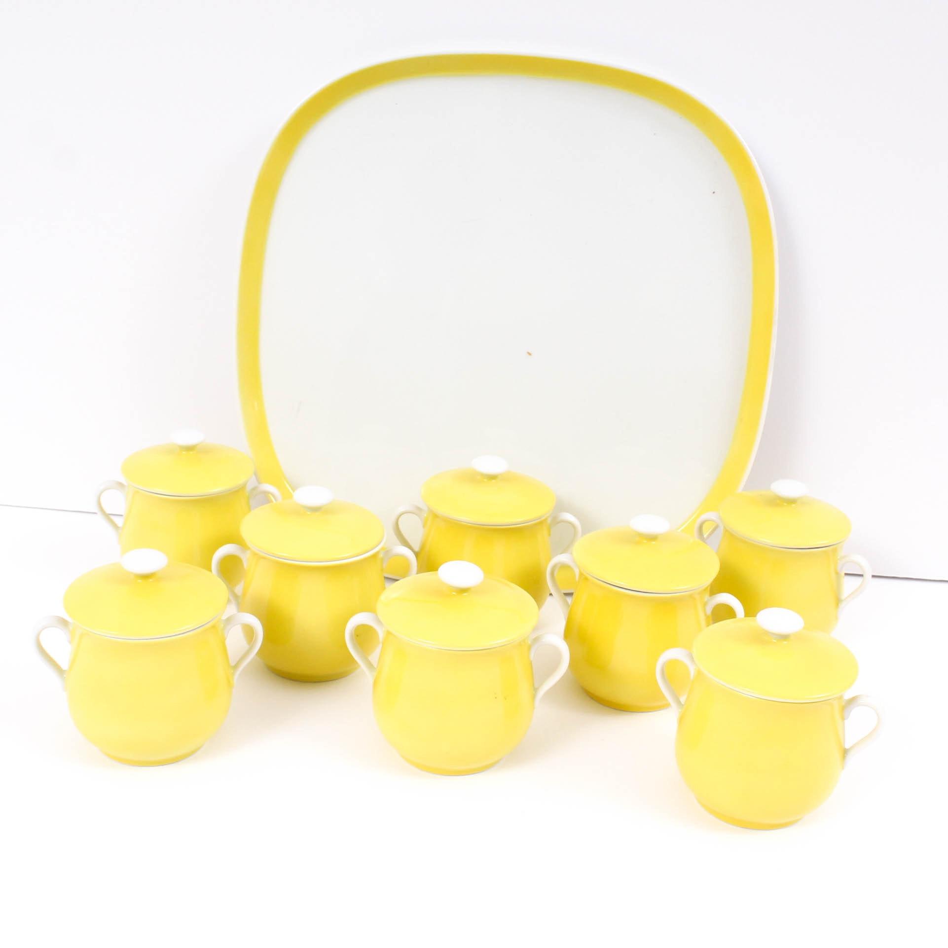 """Fitz & Floyd Porcelain Pots de Creme and Platter """"Rondelet Yellow"""""""