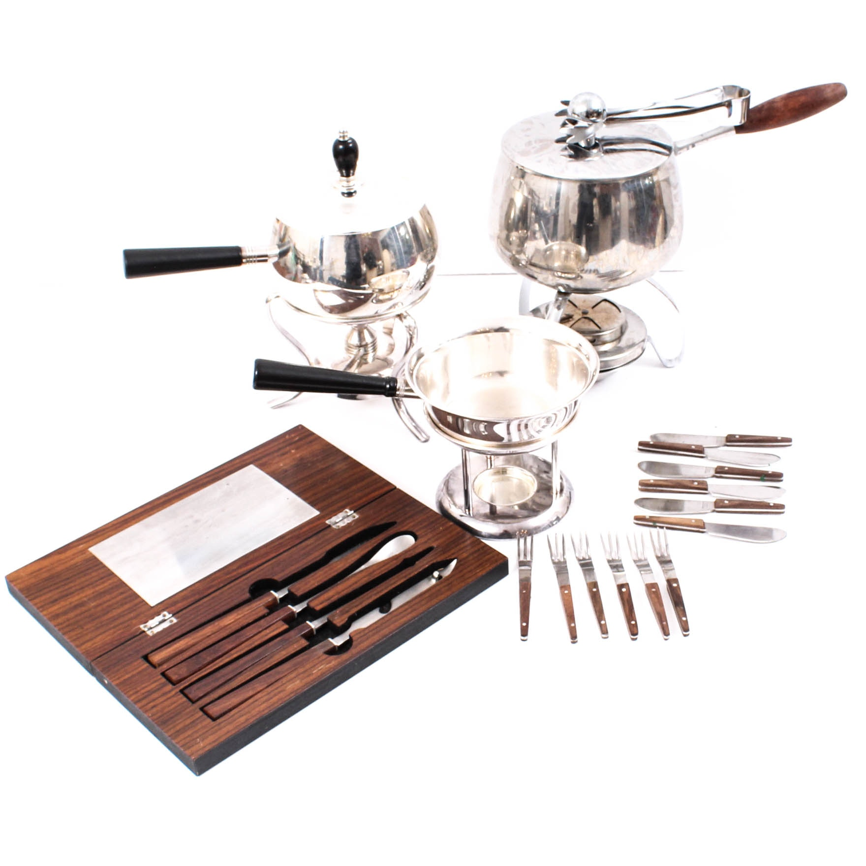 Mid Century Fondue Pots and Cutlery