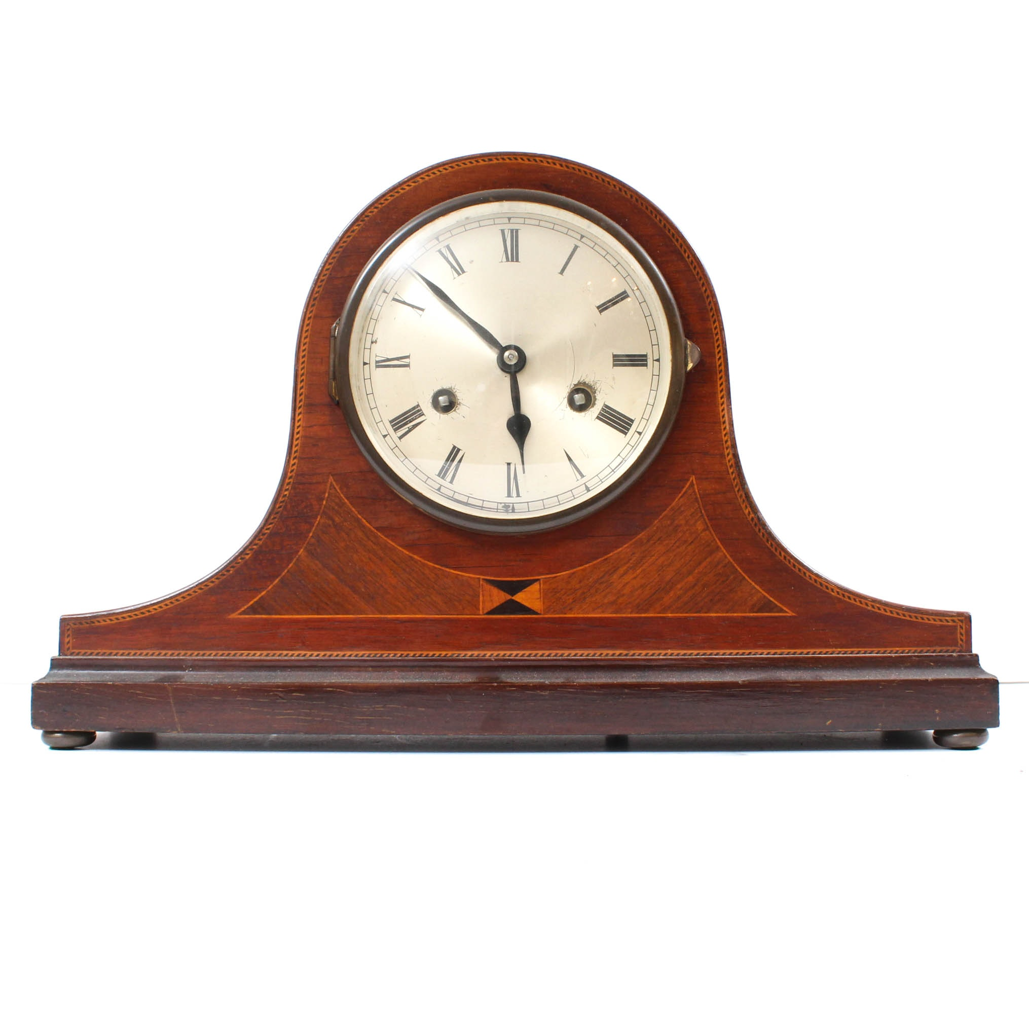 Mahogany Edwardian Dome Top Mantle Clock with Jahresuhrenfabrik Works