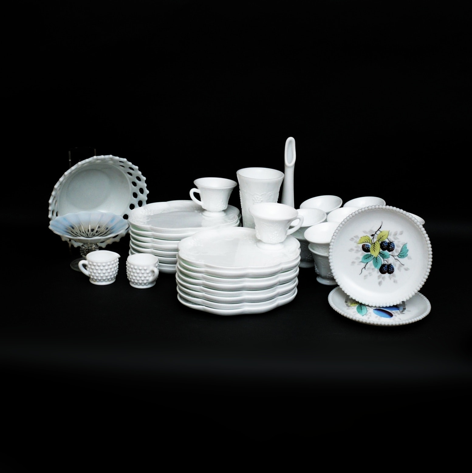 Collection of Milk Glass Luncheon Plates and Cups