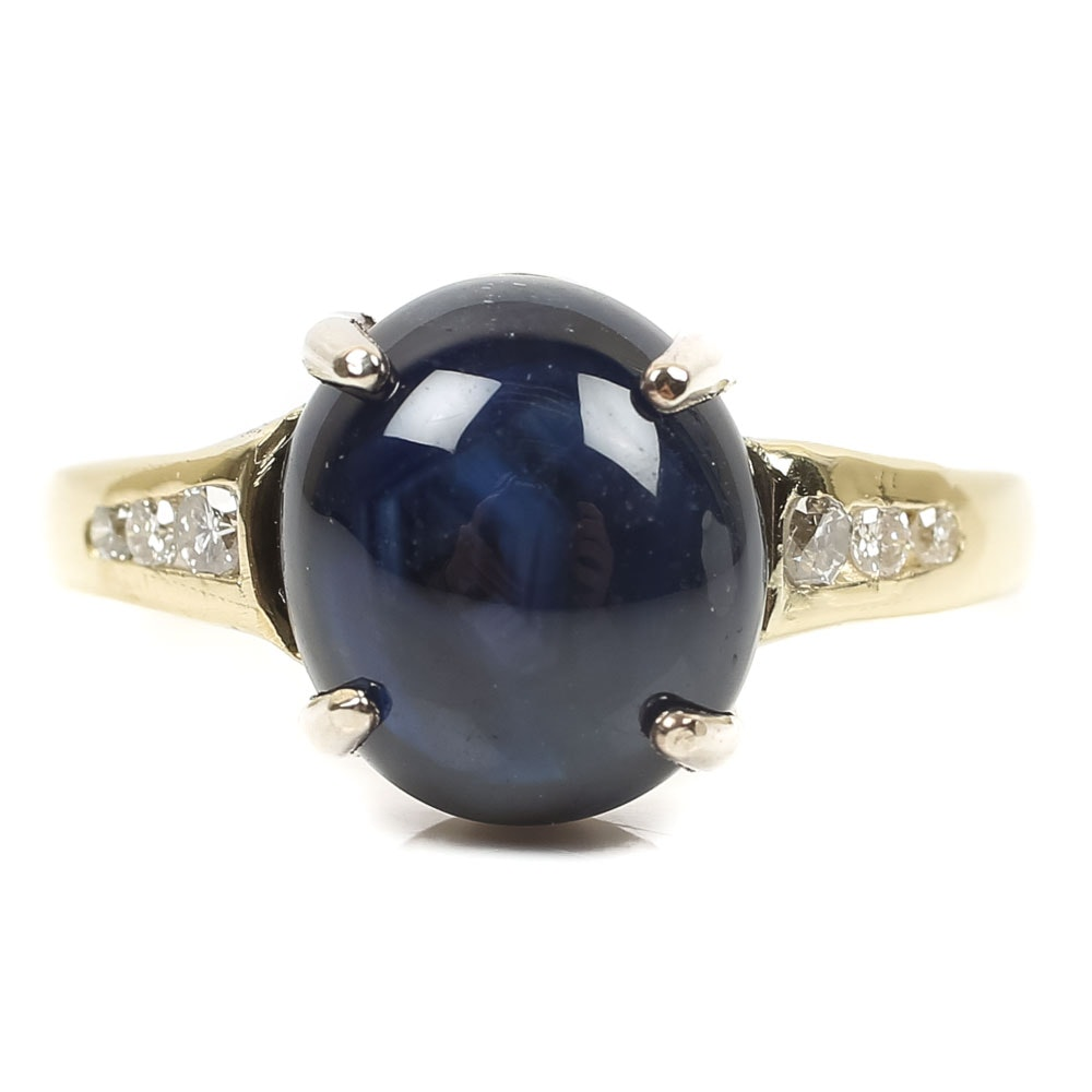 14K Yellow Gold 4.45 CT Sapphire and Diamond Ring