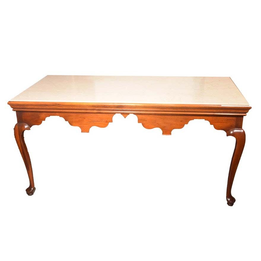 Chippendale Cherrywood and Marble Writing Desk by Baker Furniture