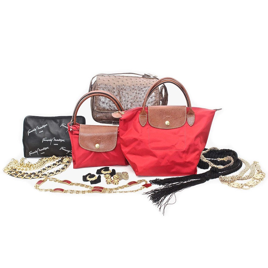 c6a8a70df684 French Accessories Including Longchamp Paris and Genuine Ostrich   EBTH