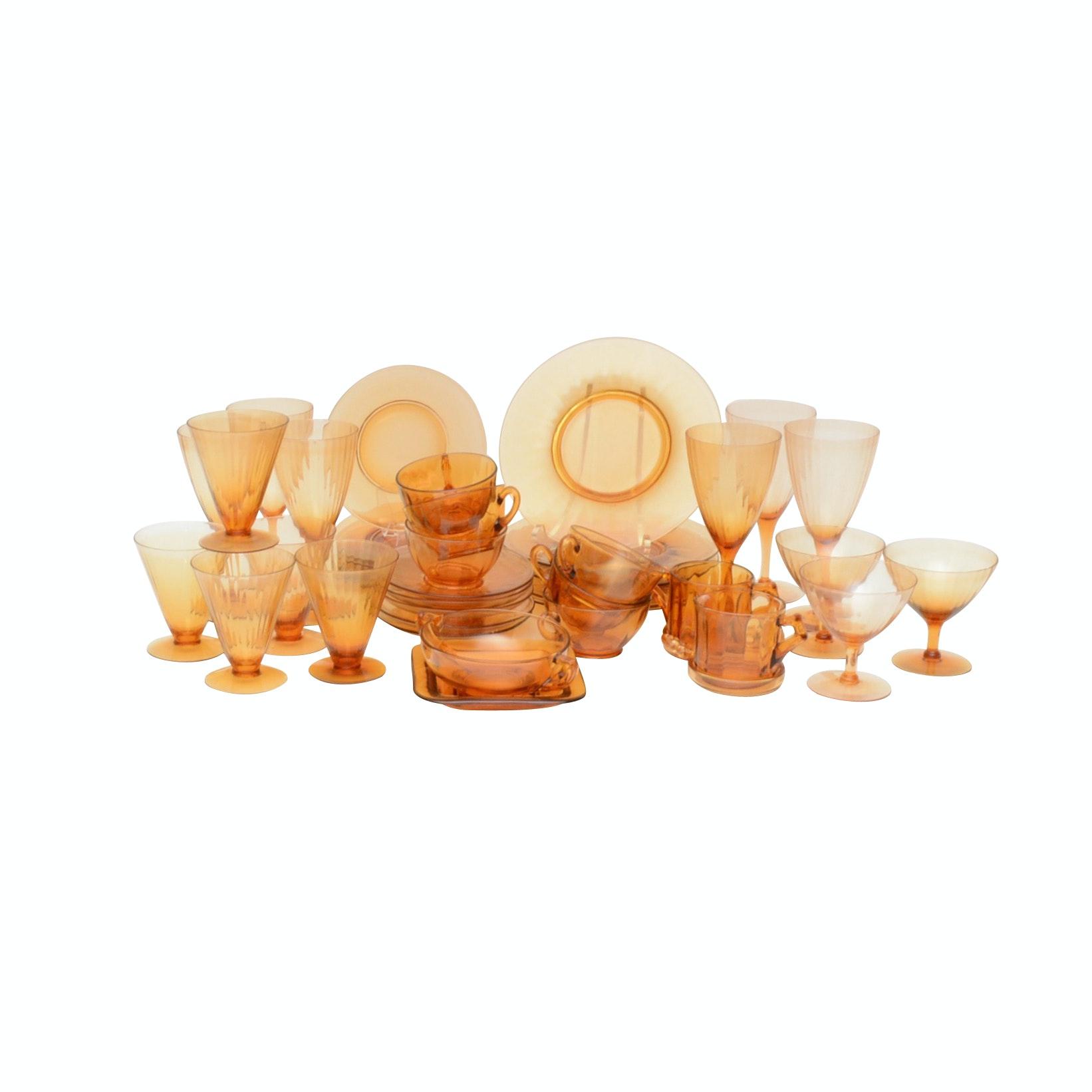 Antique Amber Cambridge Glass