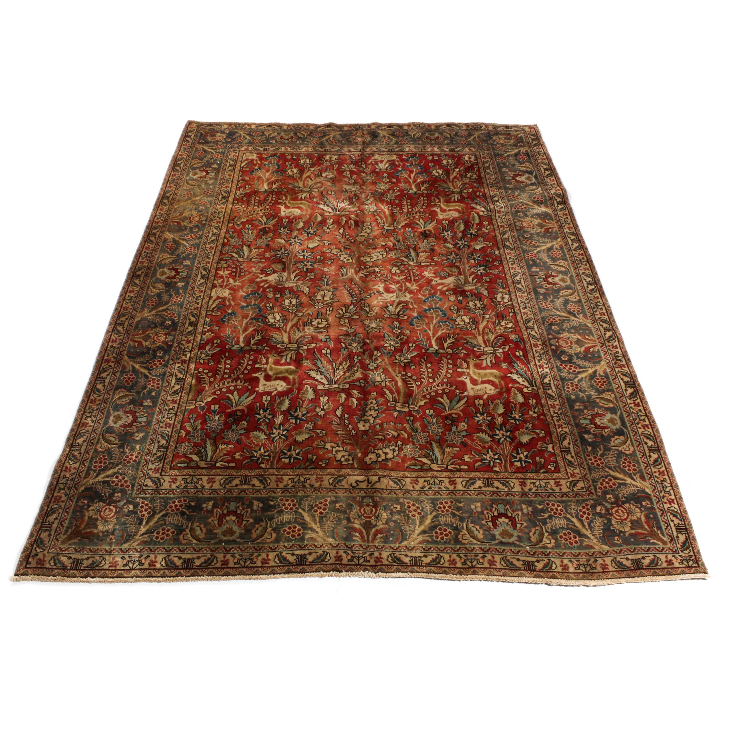 Semi-Antique Hand-Knotted Persian Hunting Qum Room Size Rug