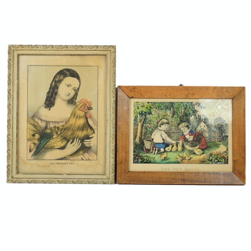 Hand Colored Lithographs Including Currier and Ives