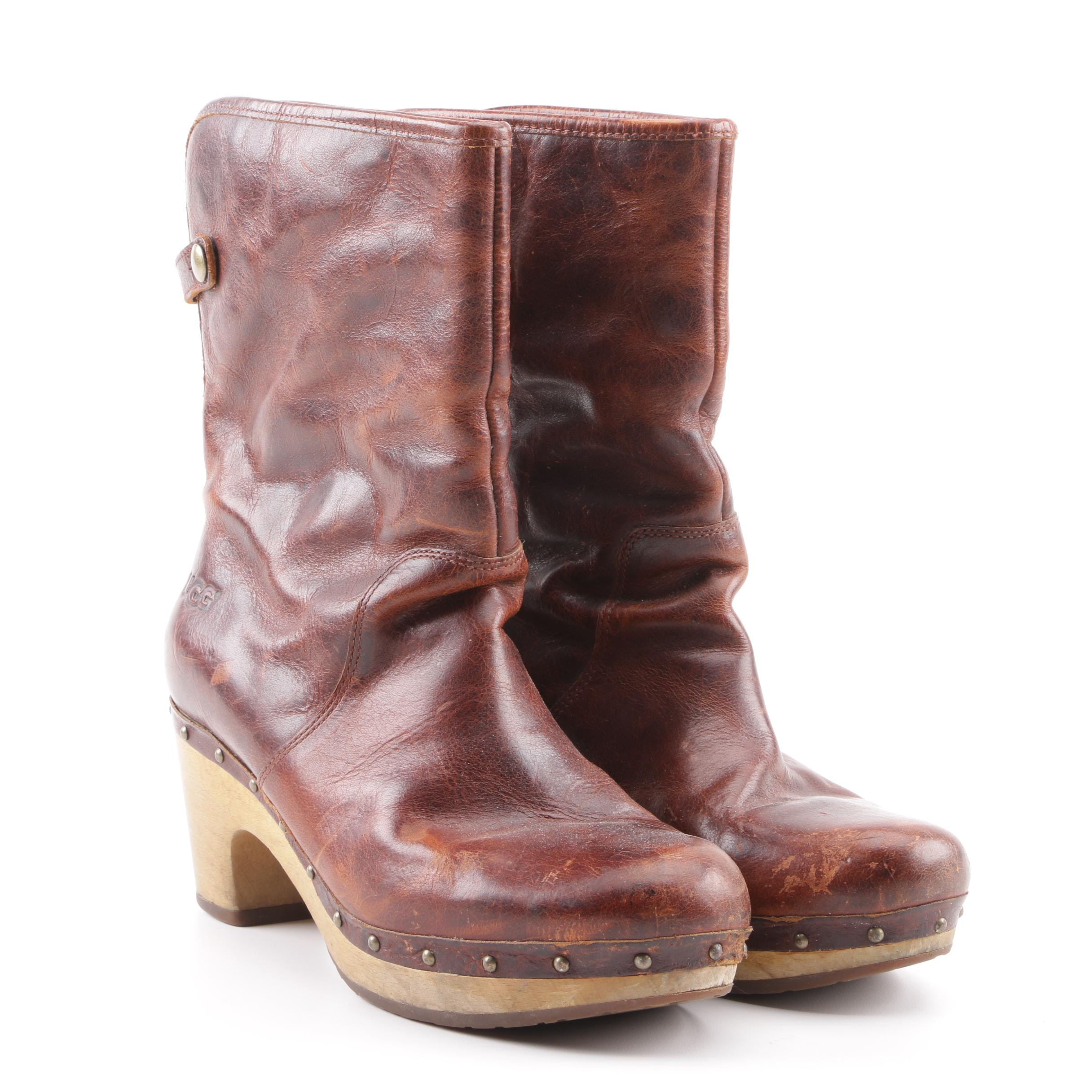 Women's UGG Lynea Brown Leather and Shearling Boots 1001793