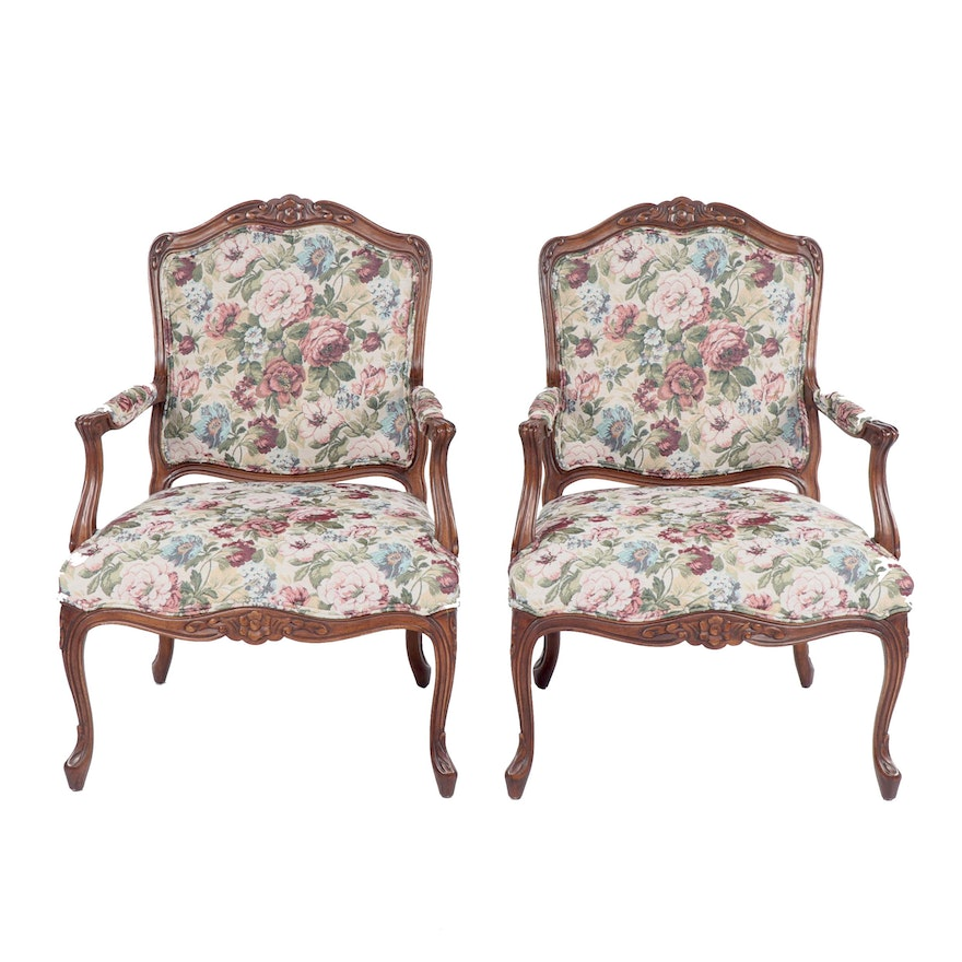 French Provincial Style Upholstered Armchairs by Drexel ...