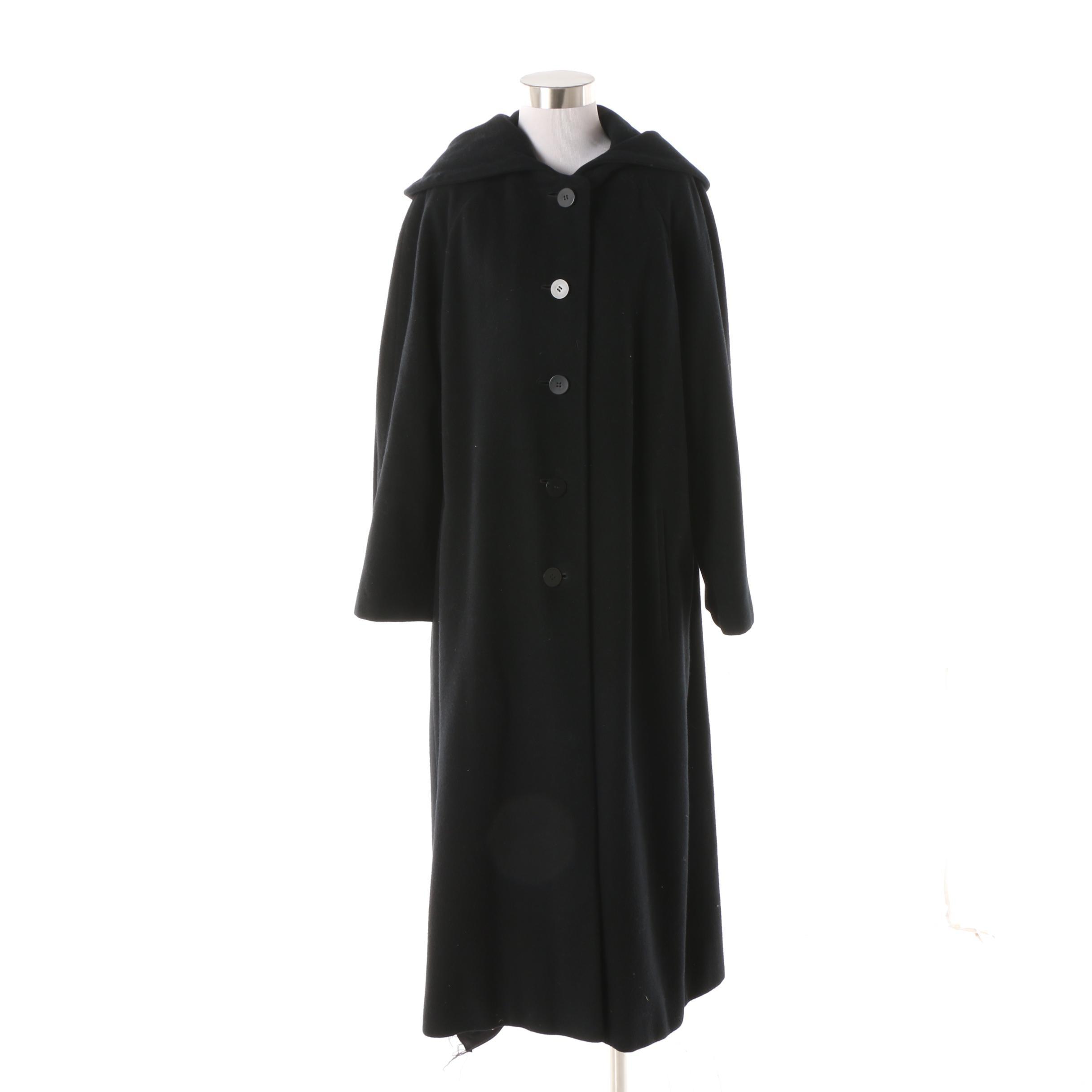 Circa 1990s Regency Oversize Cashmere Black Cashmere Hooded Coat