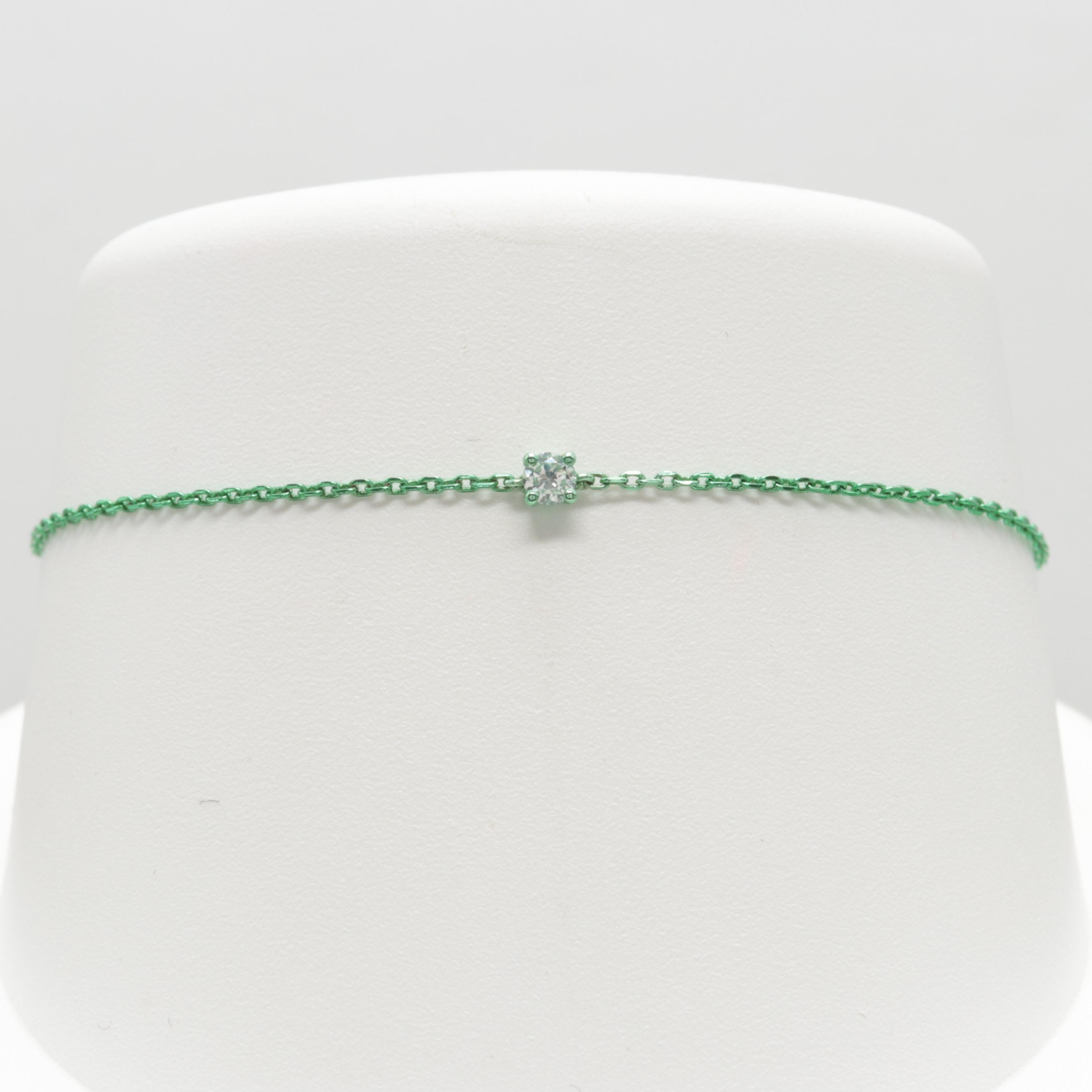 Anodized Sterling Silver Diamond Bracelet