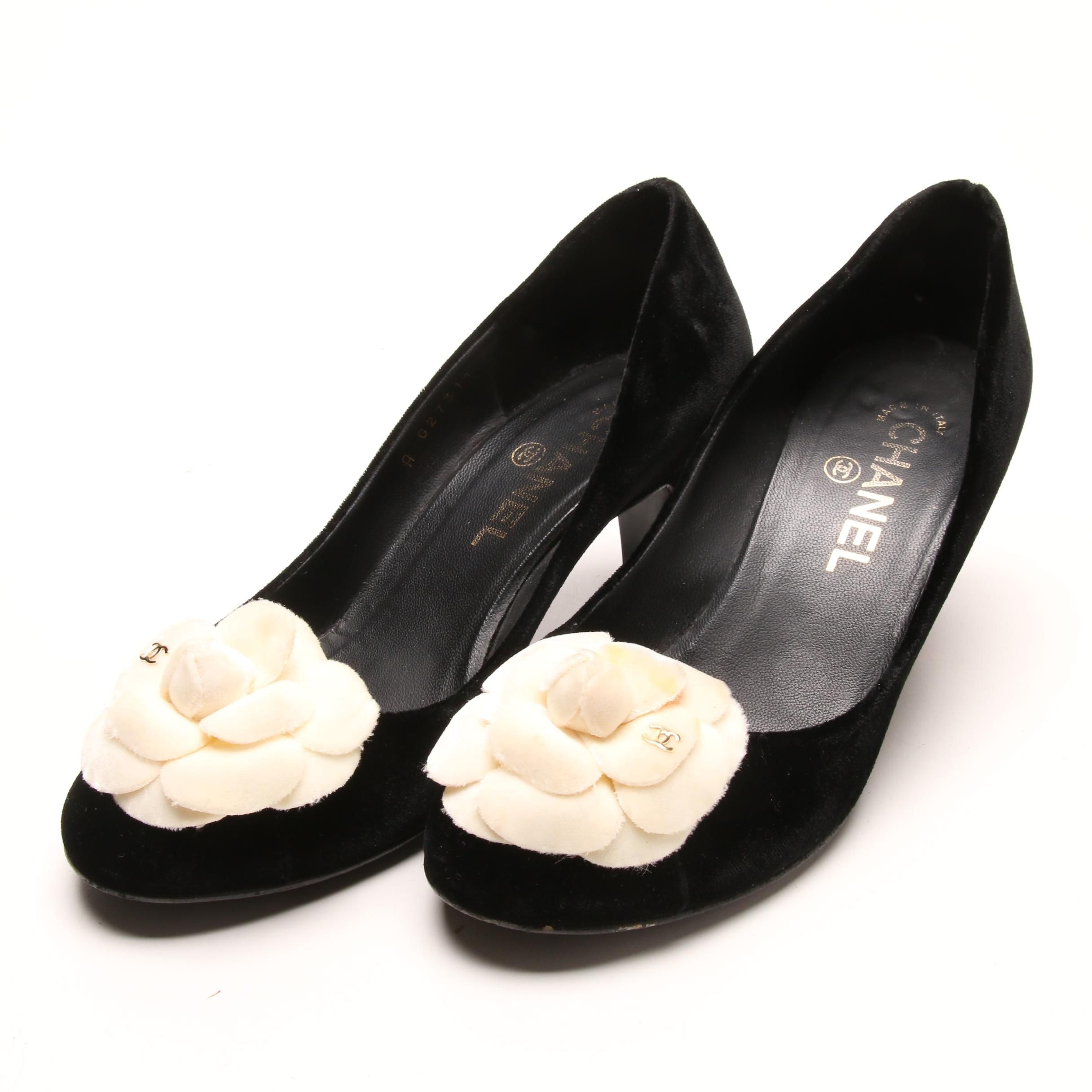 Chanel Black Velvet and Rosette Pumps