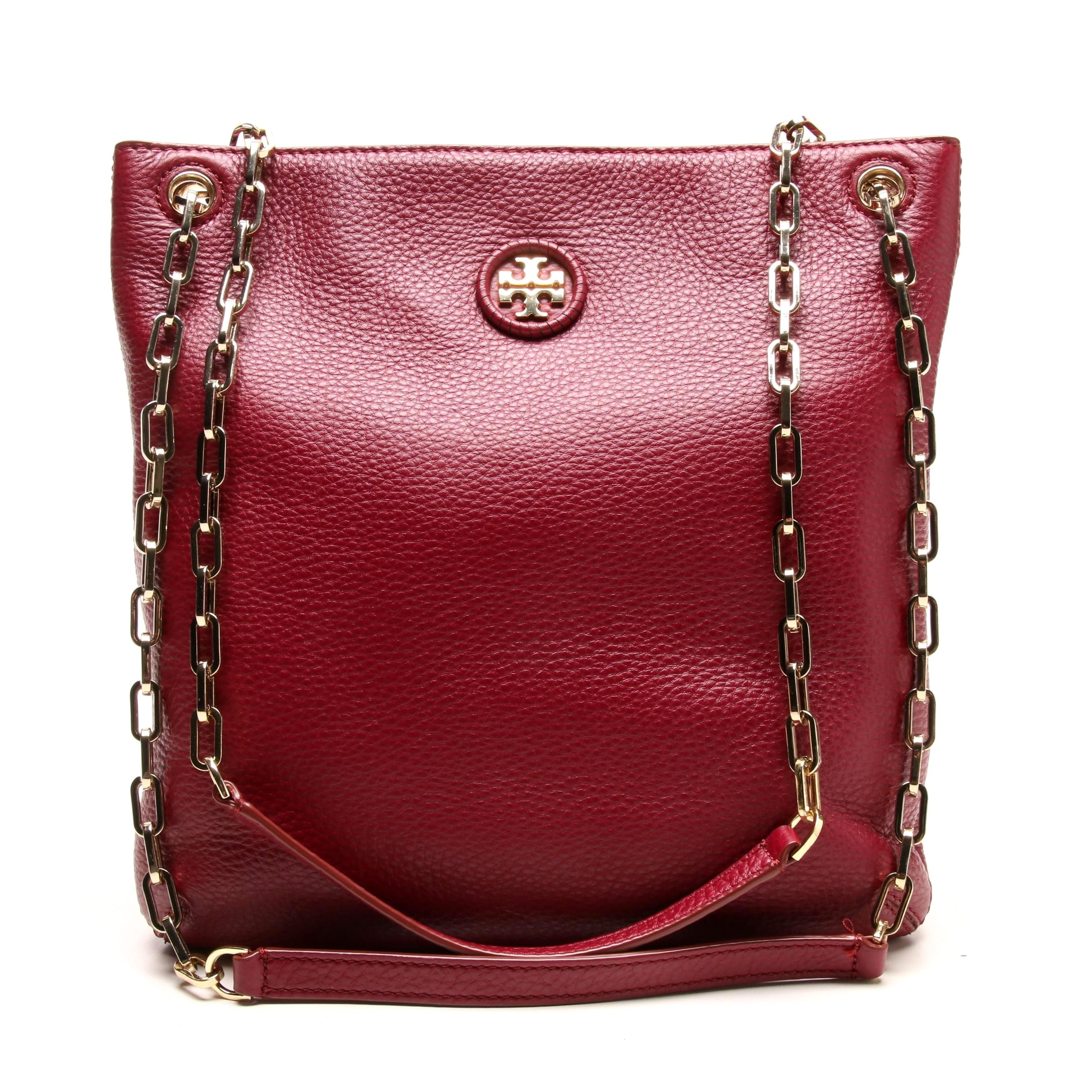 Tory Burch Burgundy Leather Shoulder Bag