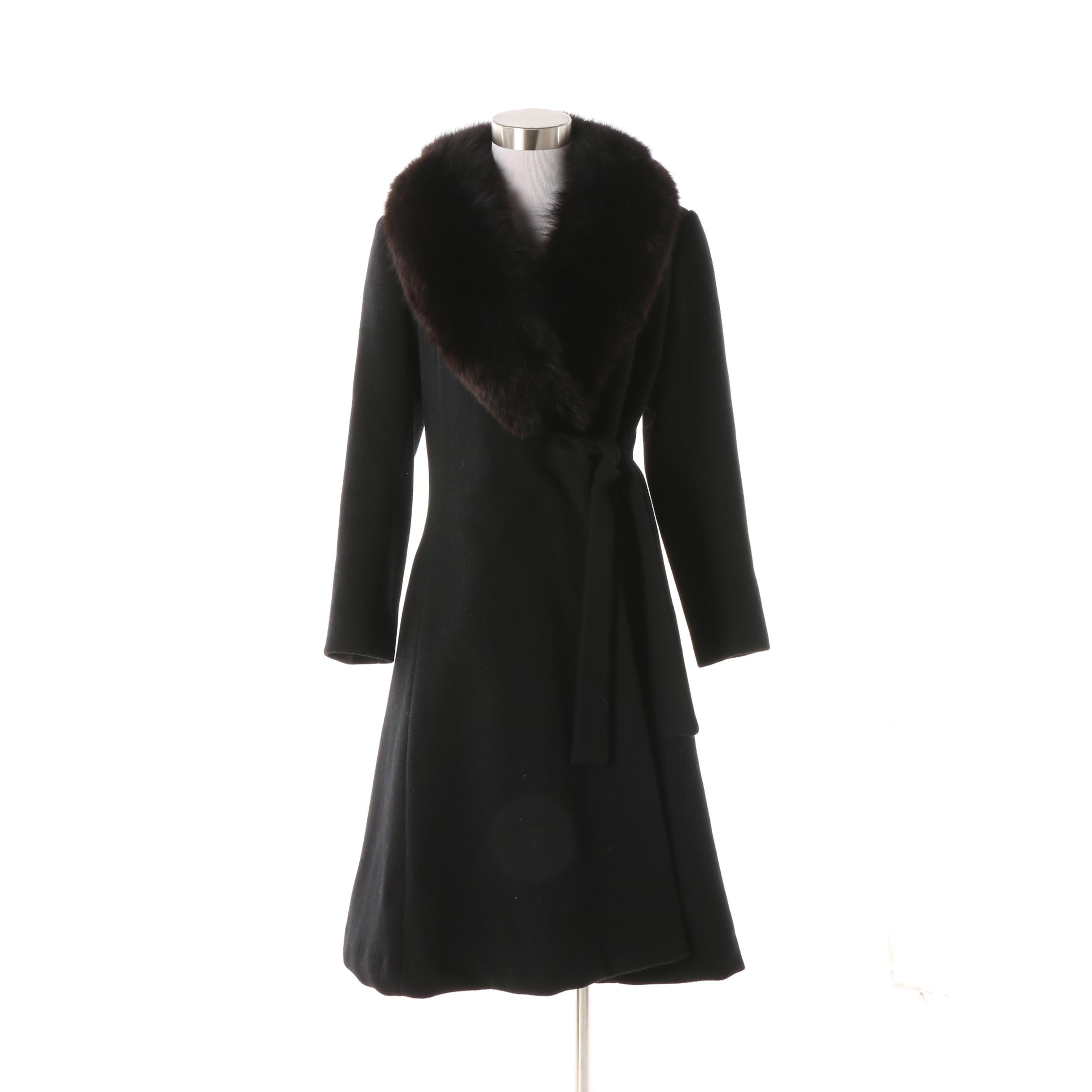 Women's Vintage Fairbrooke Black Wool Princess Coat with Black Fox Fur Collar