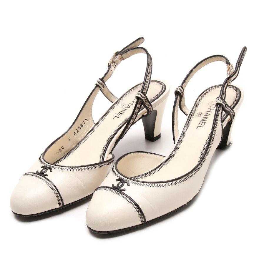 0fec2f242fb Chanel Off-White Leather Slingback Heels