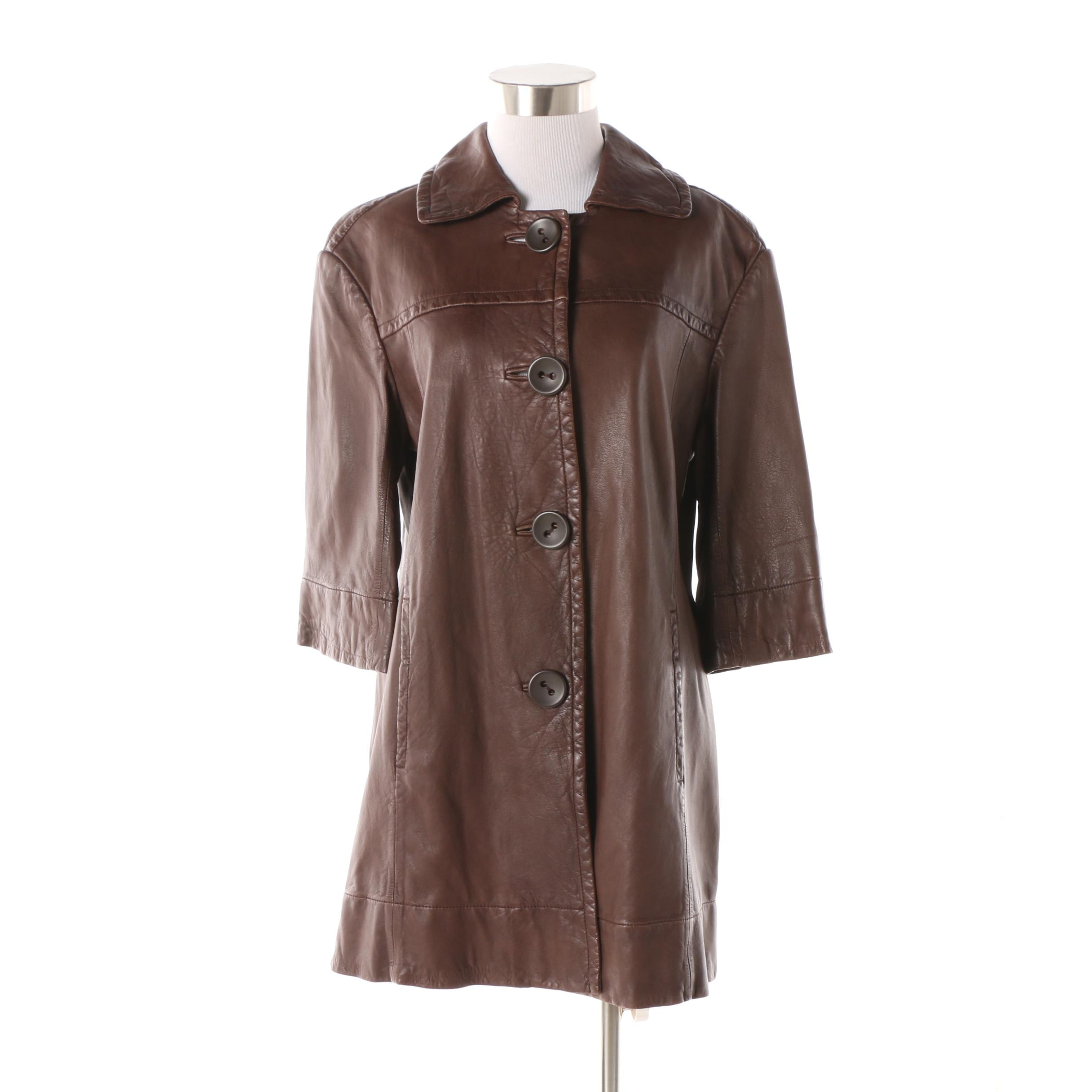 Vince Brown Leather Three-Quarter Length Sleeve Coat