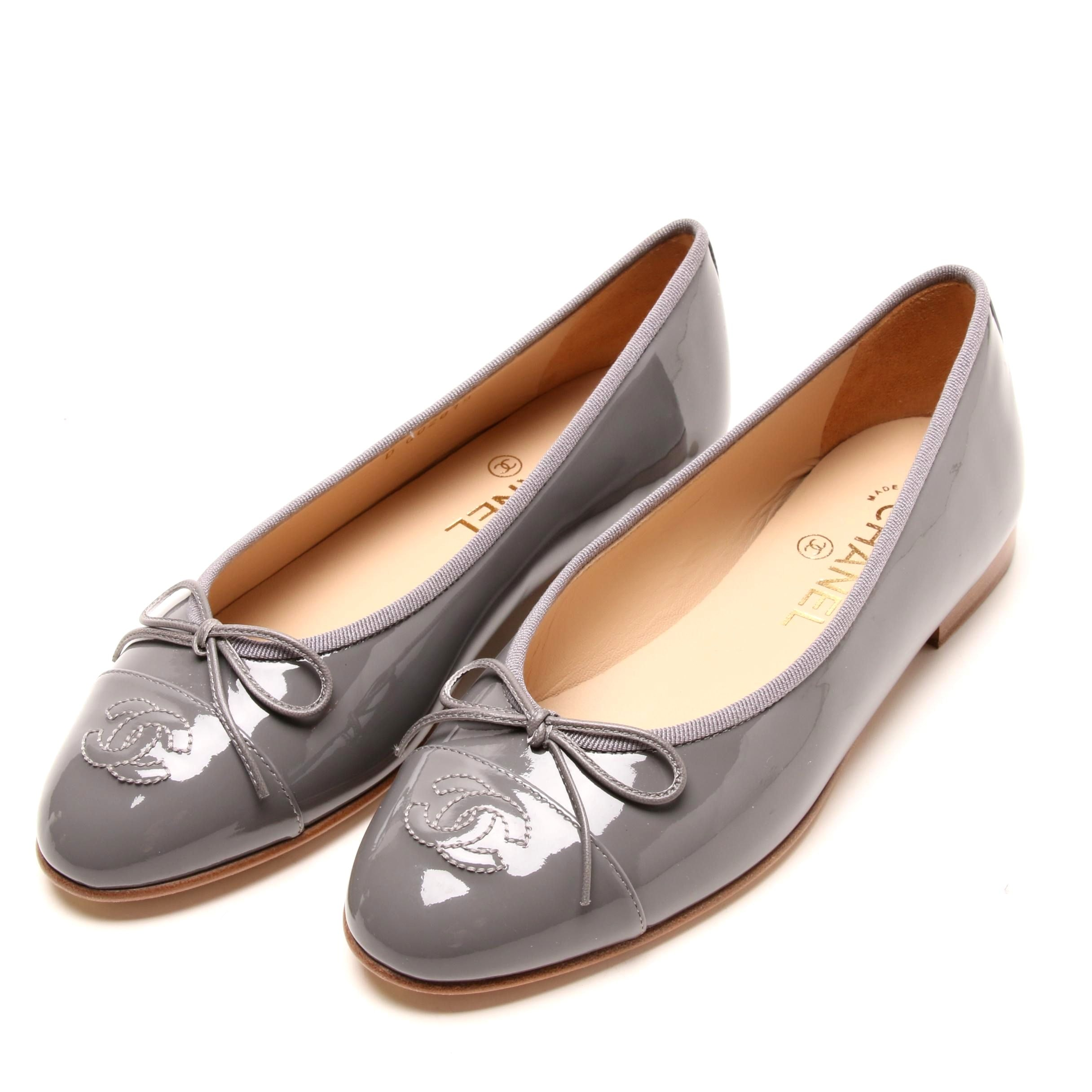 Chanel Gray Patent Leather Ballerina Flats