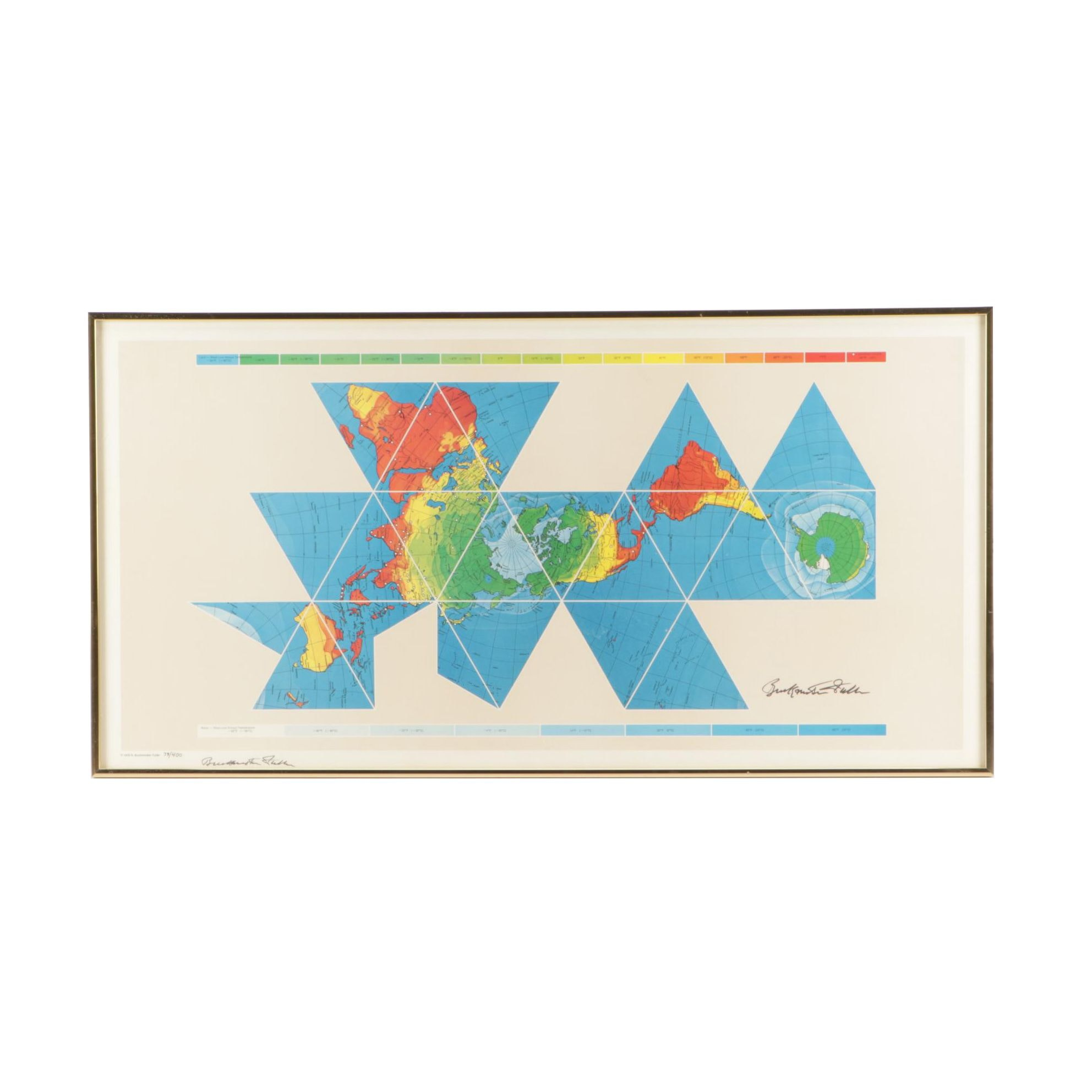 Buckminster Fuller Limited Edition Offset Lithograph of World Map