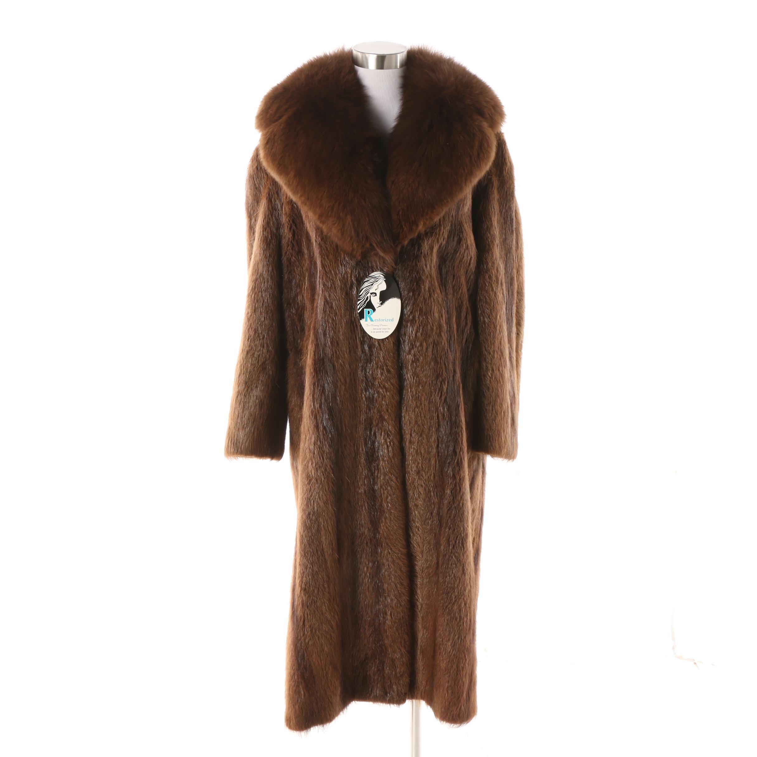Women's Vintage Beaver Fur Dress Coat with Fox Fur Collar
