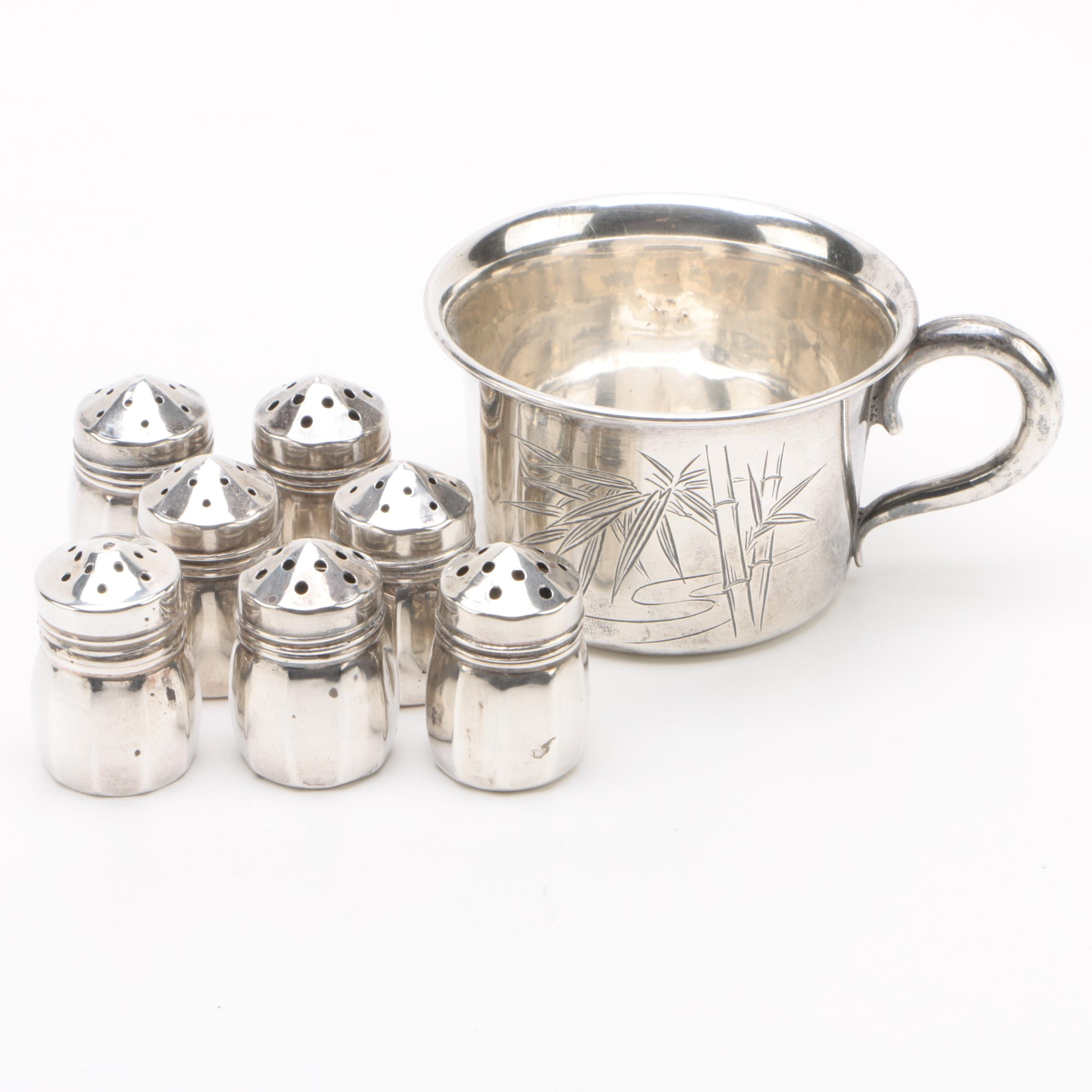 V. Lollo Sterling Shaker Set with 950 Silver Baby Cup, Mid-Century
