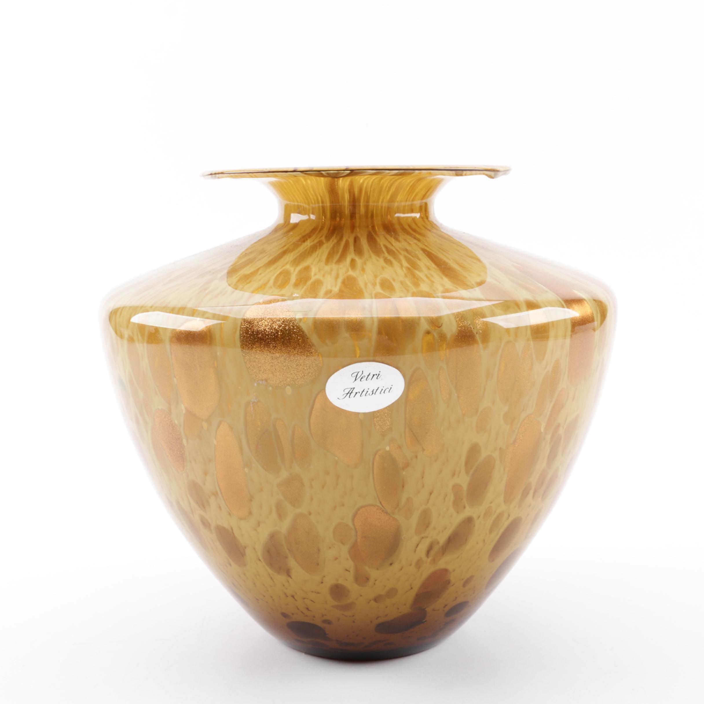Azzurra Italian Avventurina Art Glass Vase