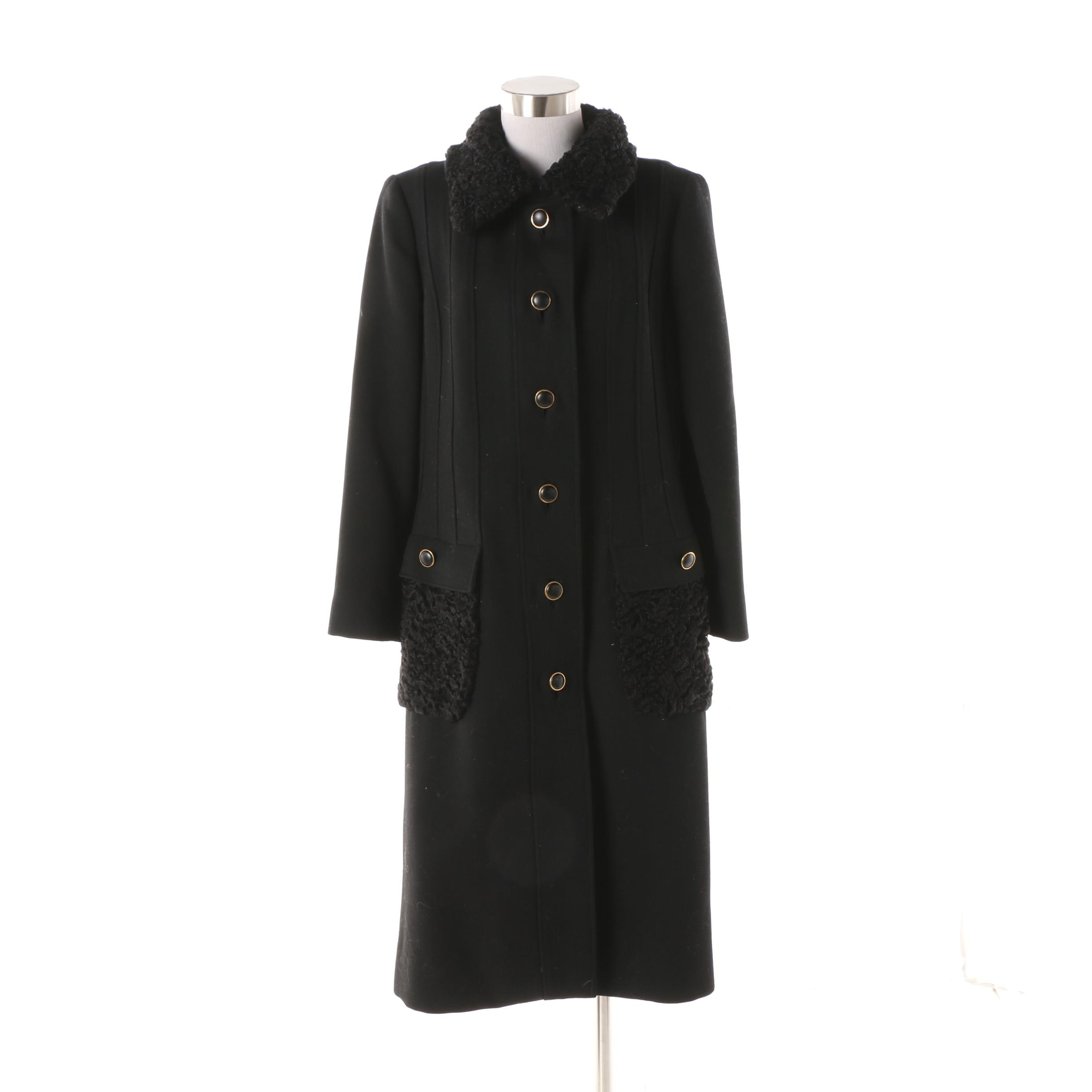 Circa 1970s Stegari Black Wool Dress Coat with Persian Lamb Fur Accents