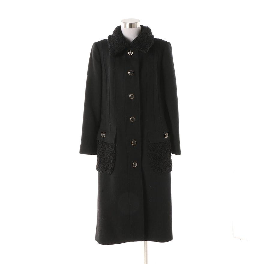 626618a406f Circa 1970s Stegari Black Wool Dress Coat with Persian Lamb Fur Accents    EBTH