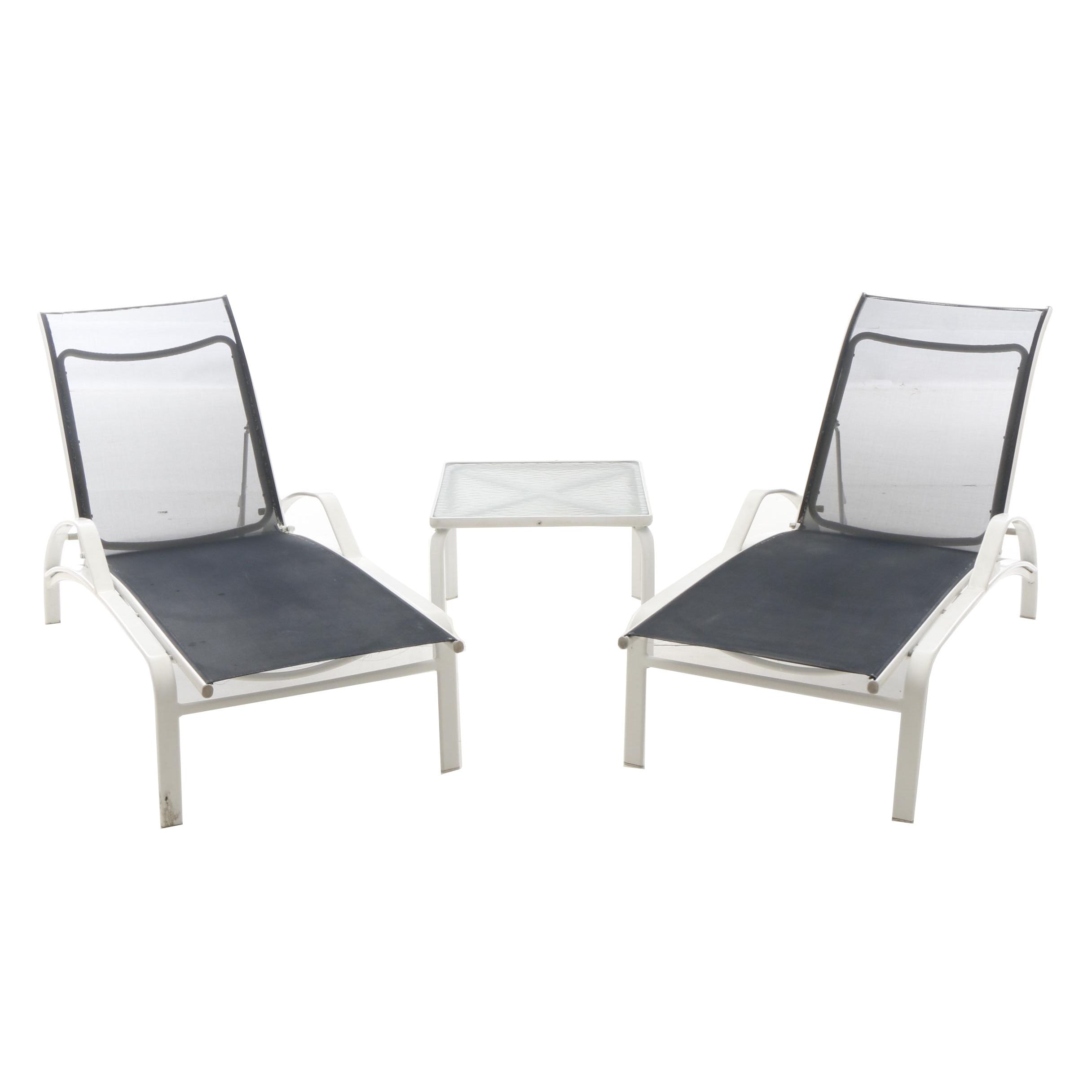 Patio Lounge Chairs and Side Table by Brown Jordan