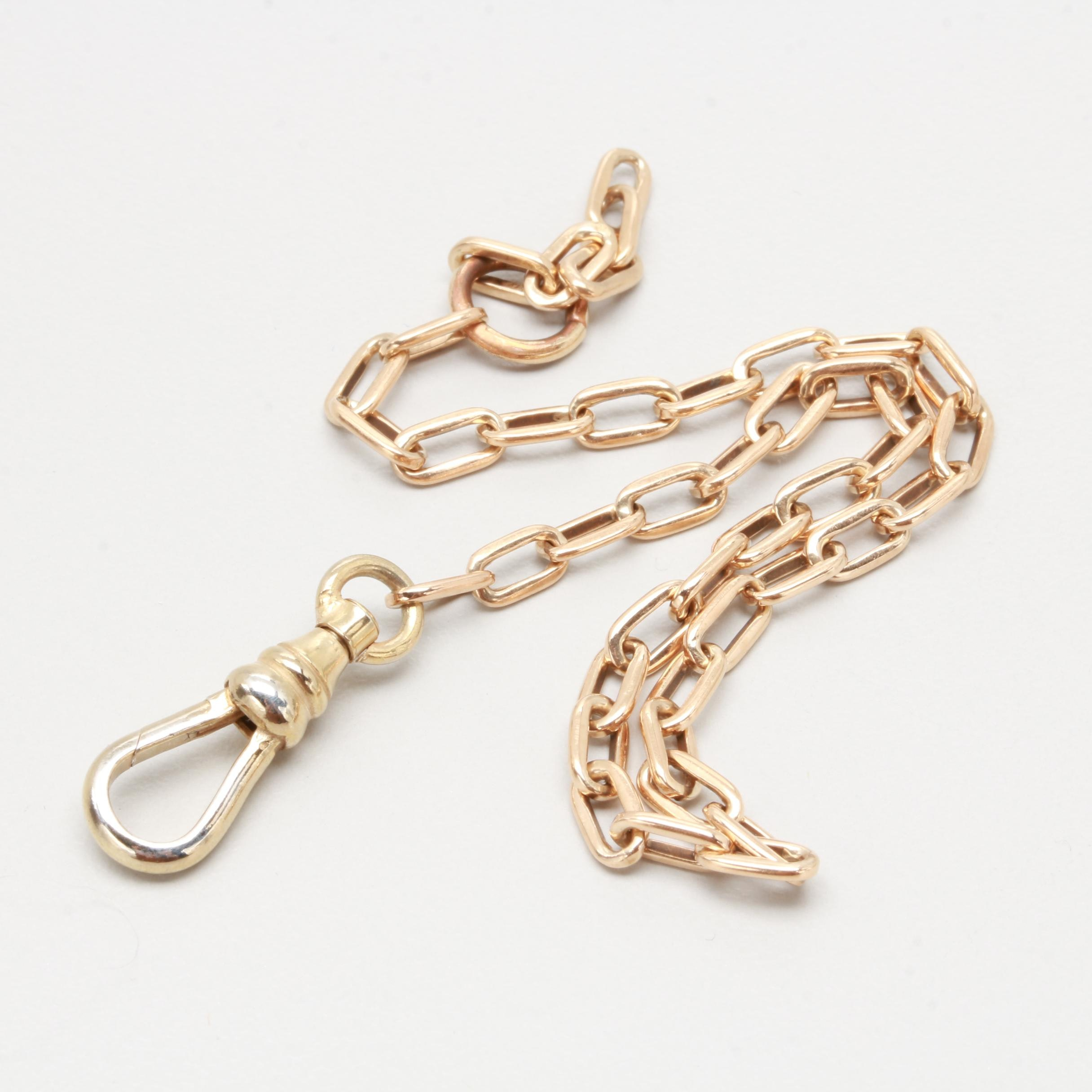 14K Yellow Gold Watch Fob with Gold Tone Findings