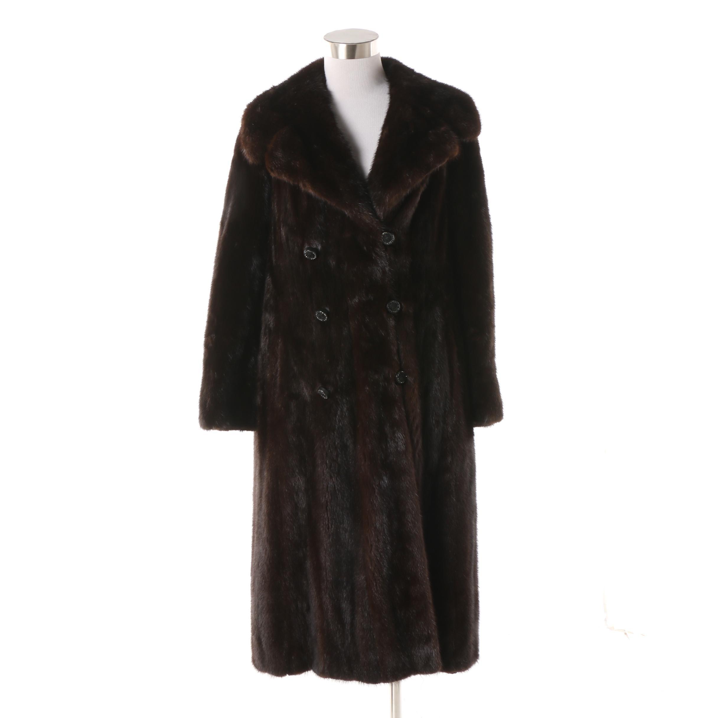 Women's Vintage Double-Breasted Ranch Mink Fur Dress Coat