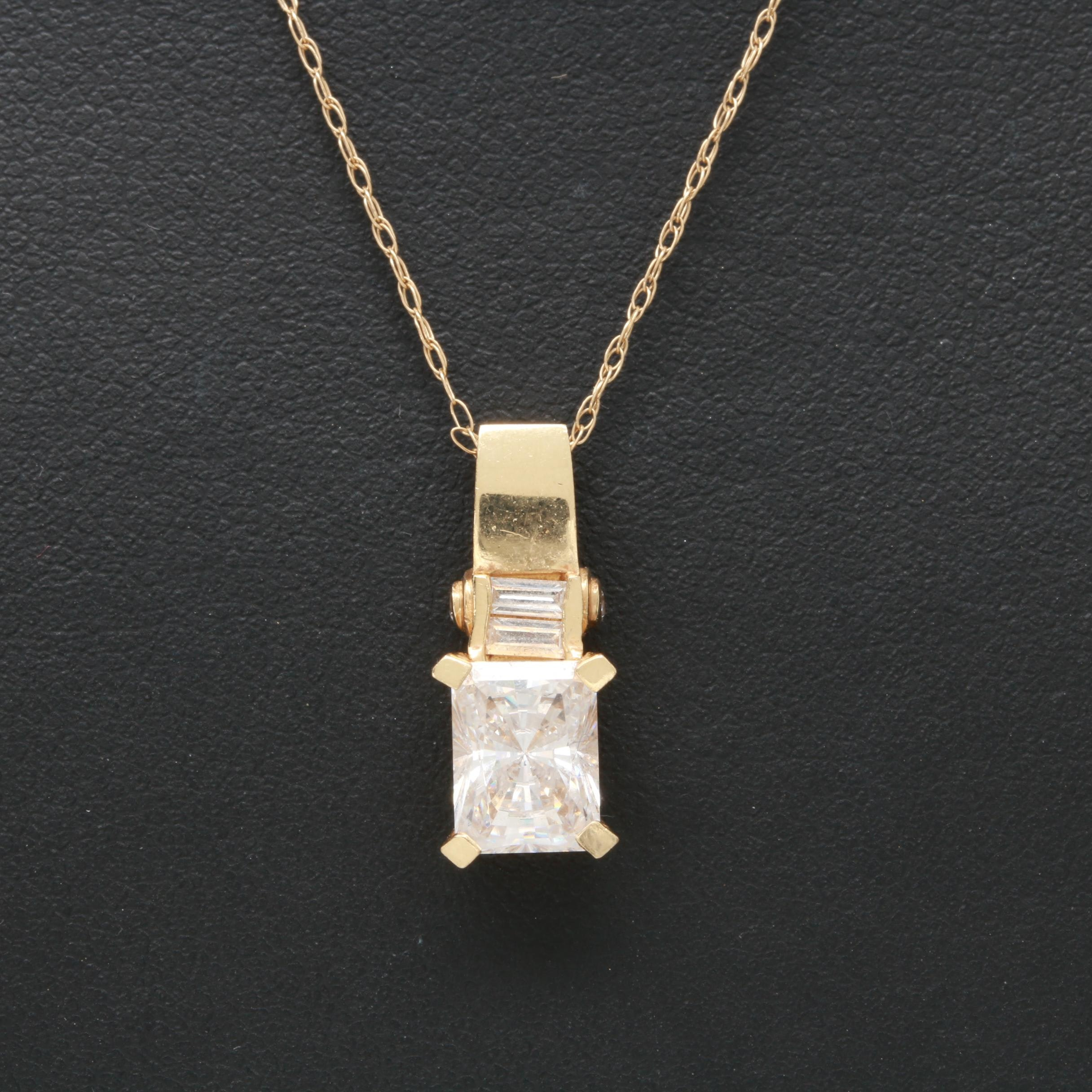 14K Yellow Gold Cubic Zirconia Necklace