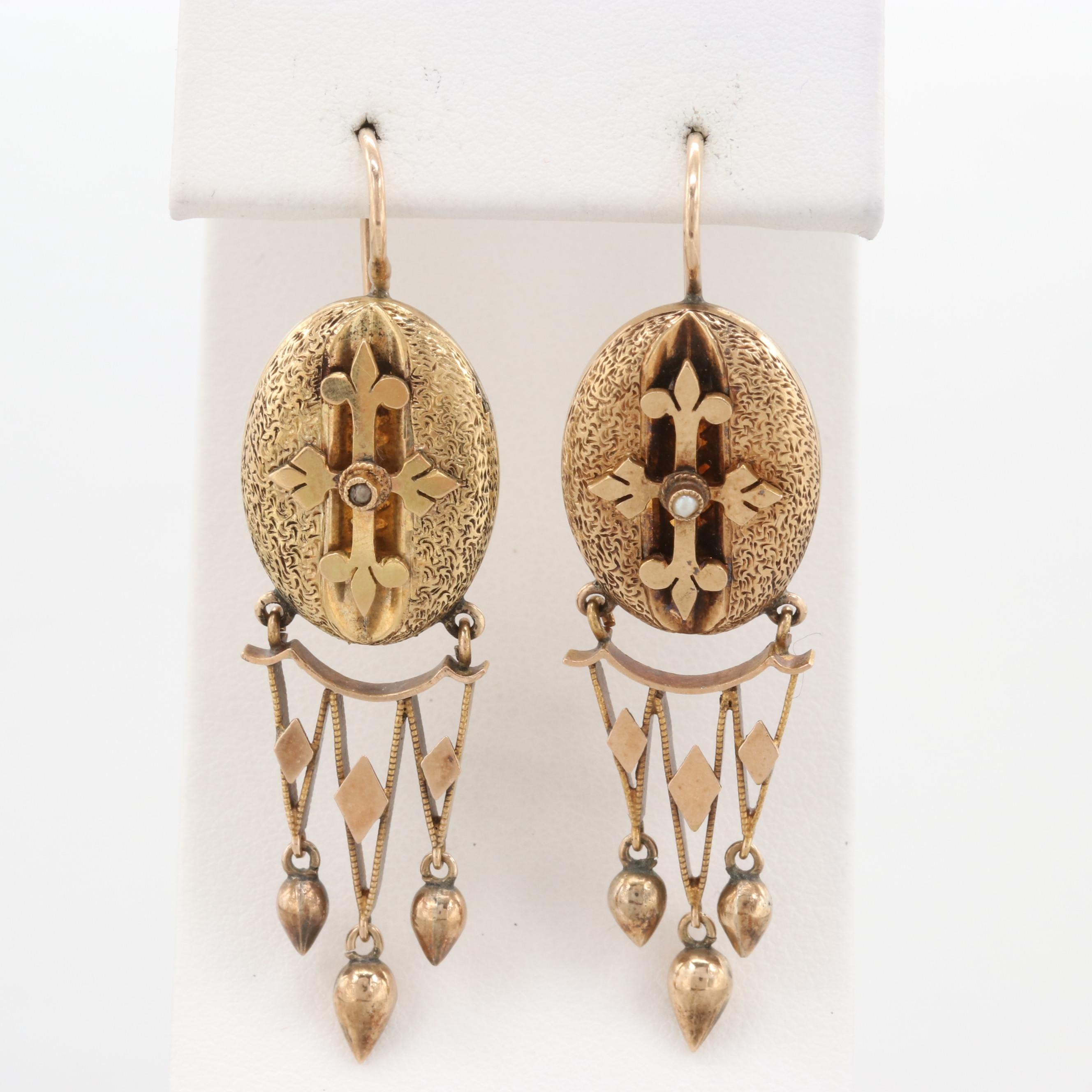 Victorian Etruscan Revival 10K Yellow Gold Seed Pearl Earrings