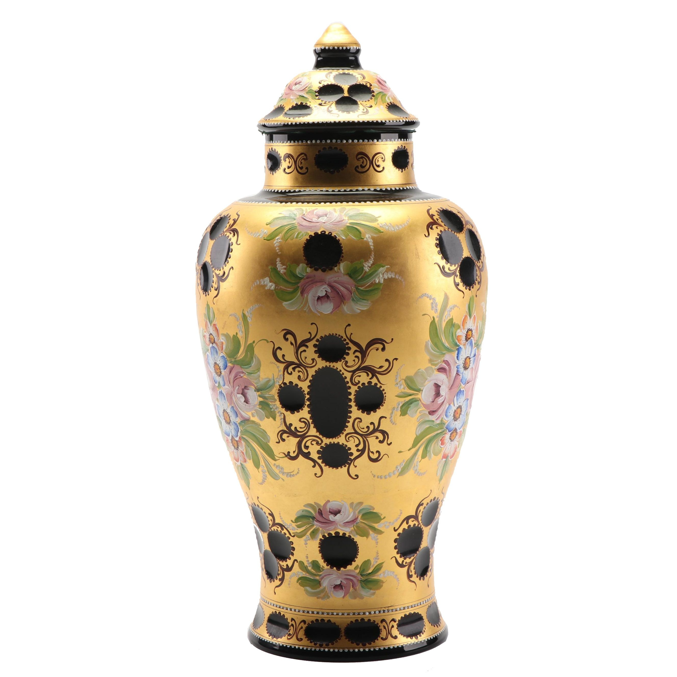 Bohemian Style Hand-Painted Glass Urn