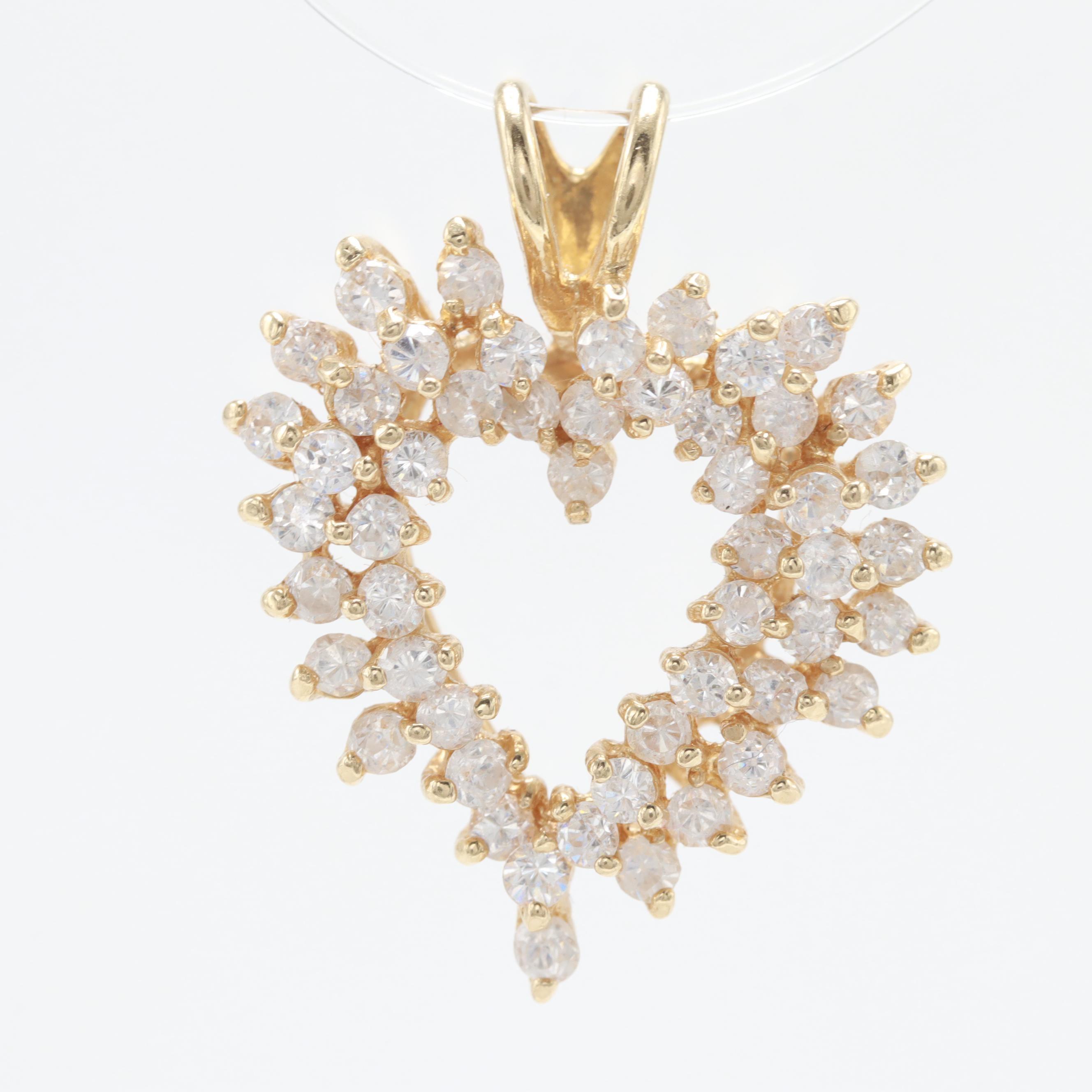 14K Yellow Gold Cubic Zirconia Heart Pendant