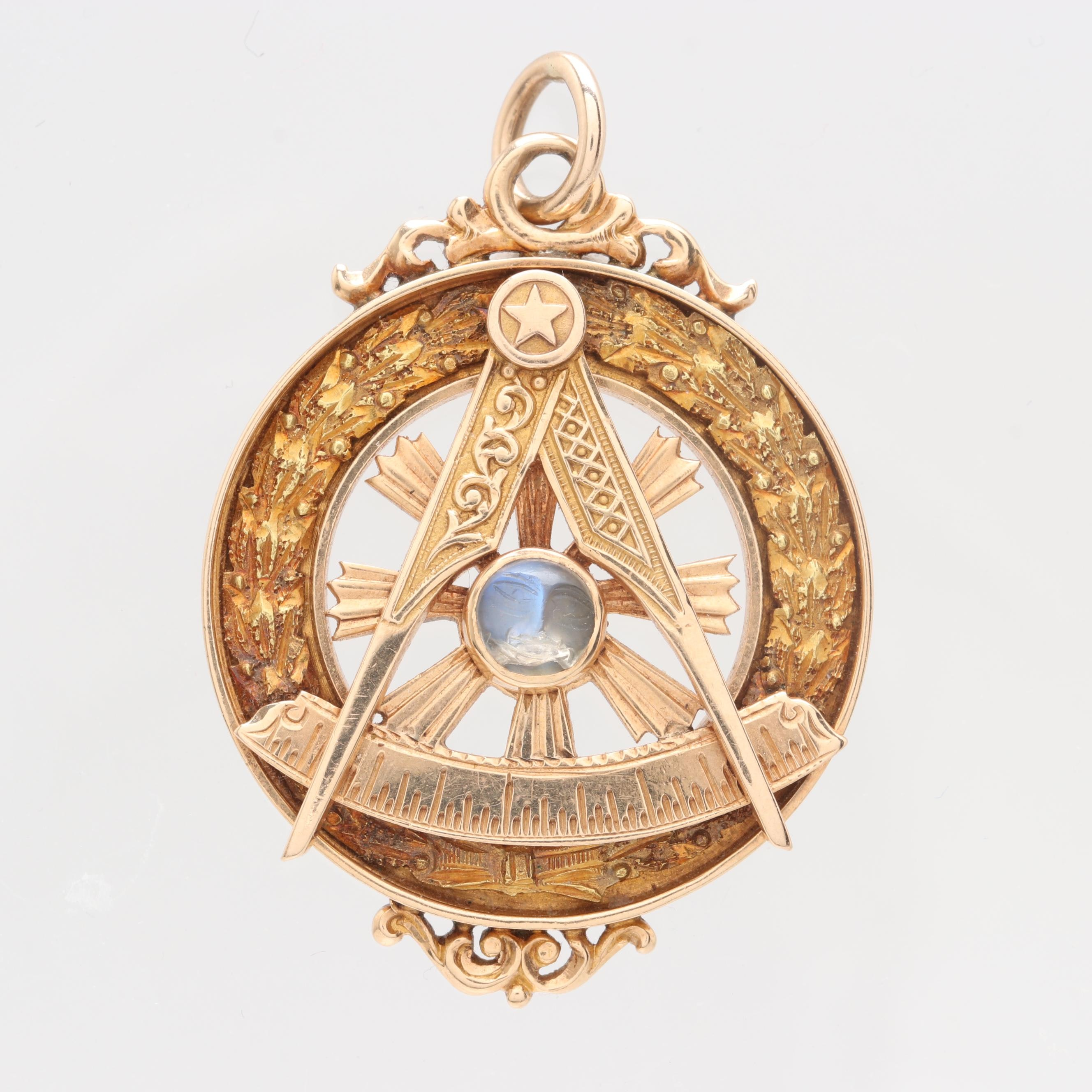 Antique 14K Yellow Gold Rainbow Moonstone Masonic Pendant