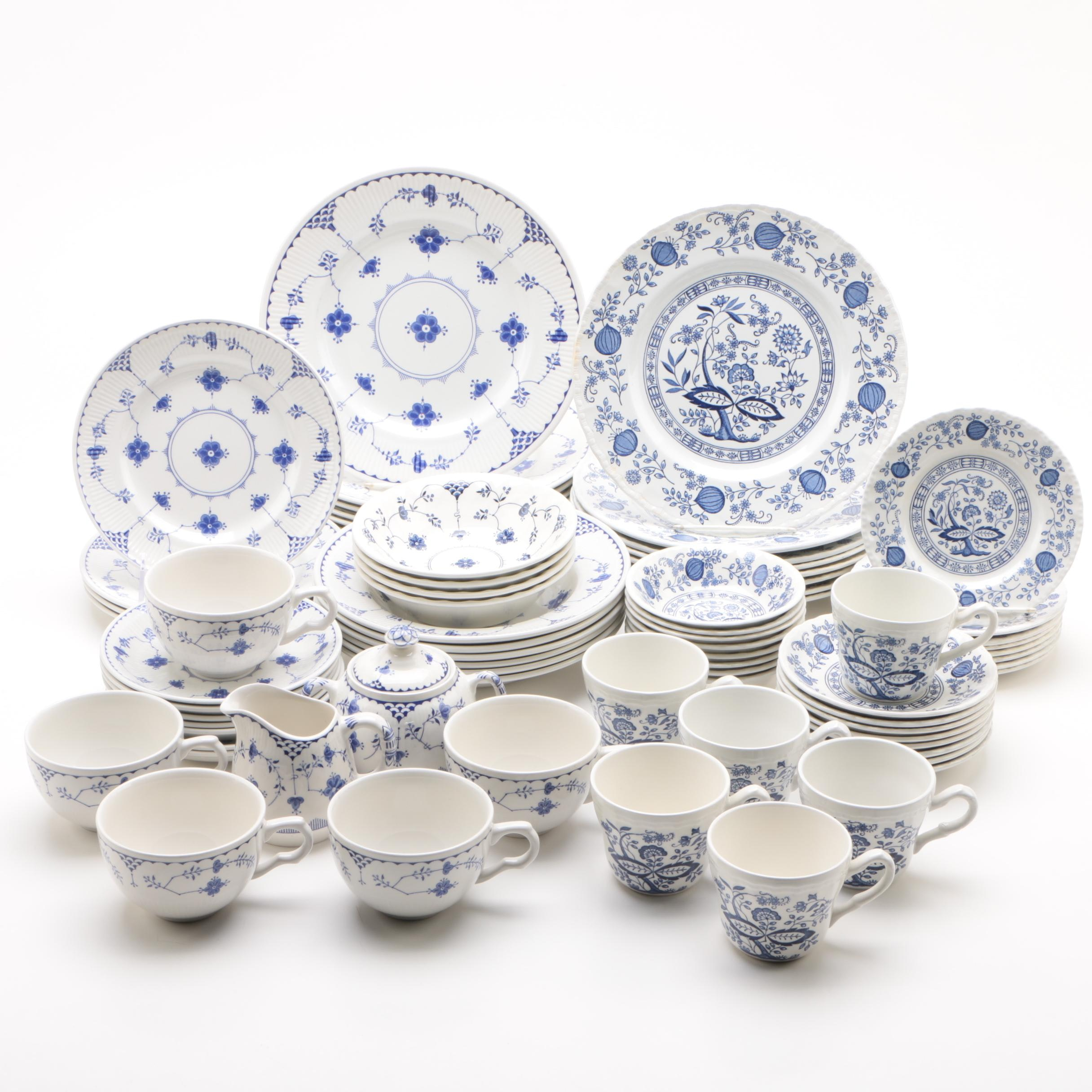 "Blue and White Ironstone Dinnerware featuring Mason's ""Denmark Blue"""