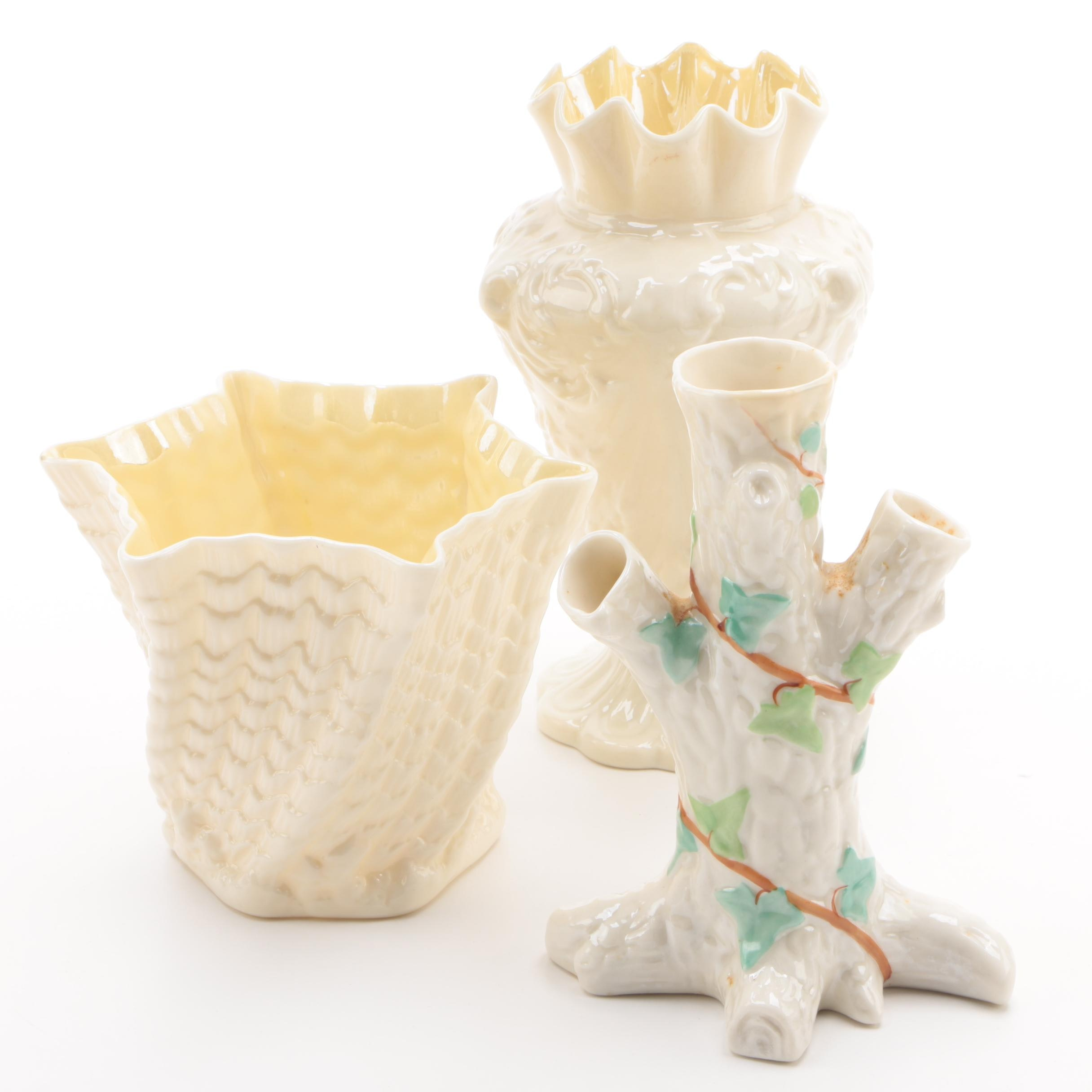 Assorted Belleek Porcelain Including a Tree Trunk Spill Vase, Late 19th Century