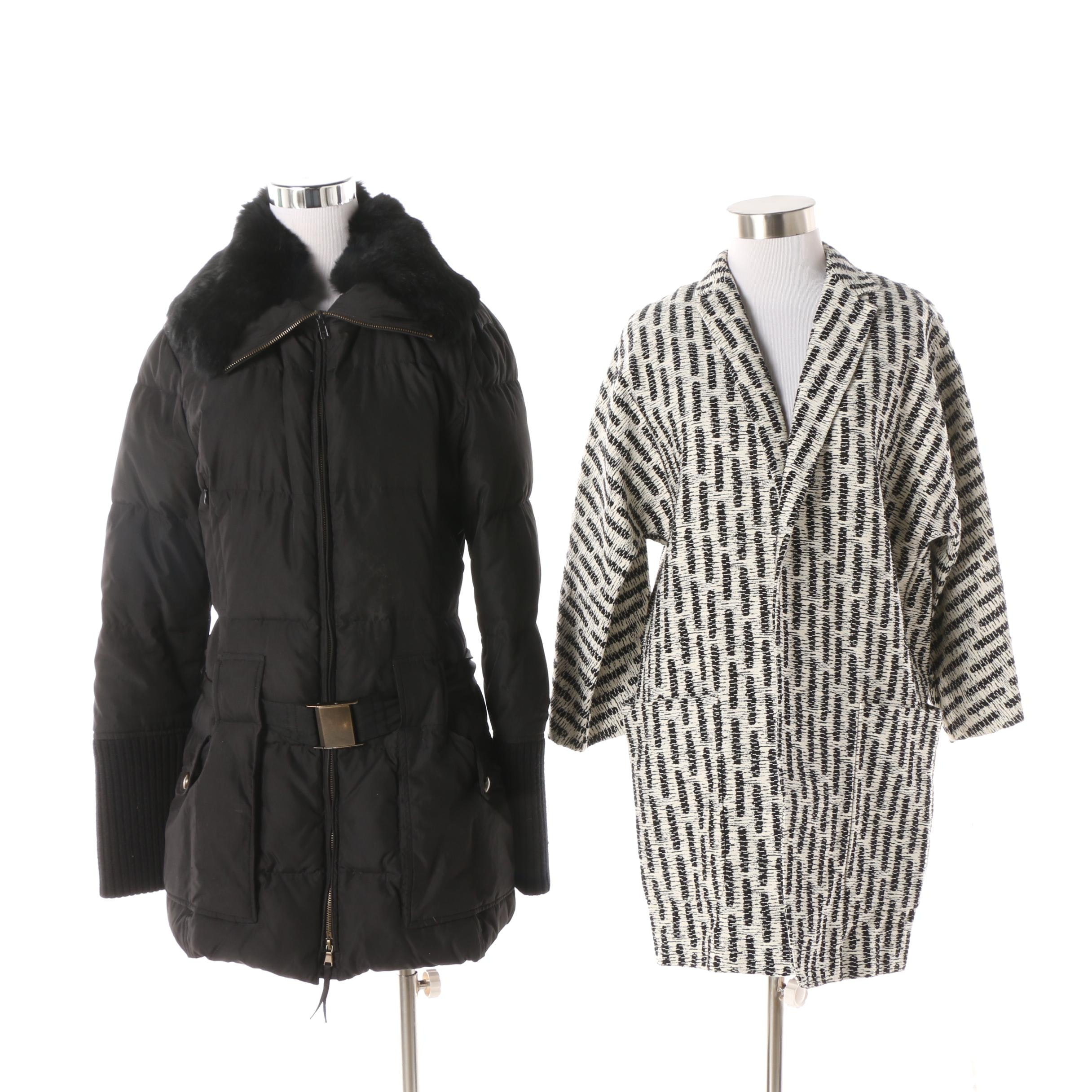 Max Mara Knit Jacket and Max & Co. Black Quilted Parka with Rabbit Fur Collar