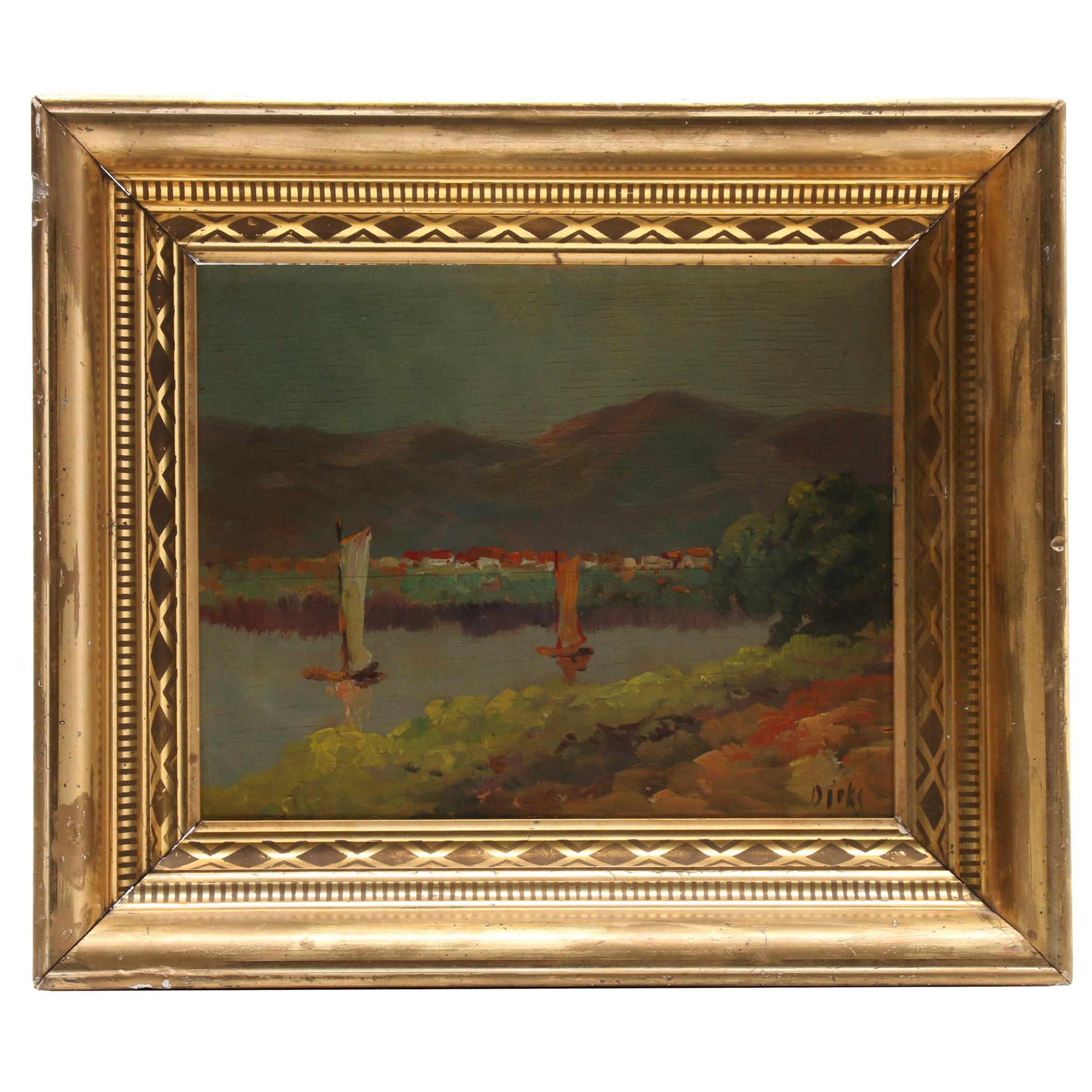Naïve River Landscape Oil Painting on Board